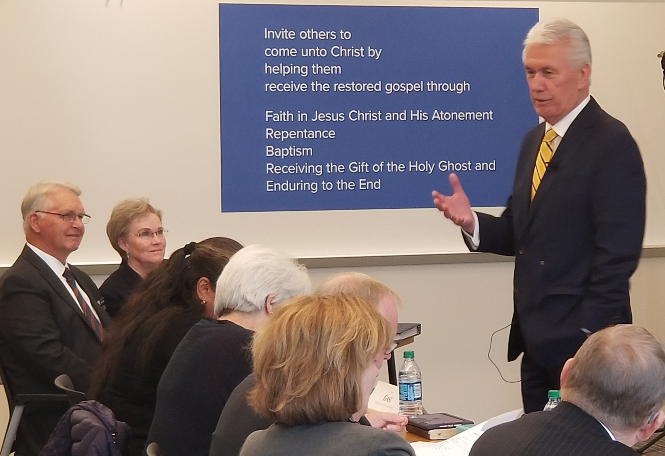 Elder Dieter F. Uchtdorf, a member of the Quorum of the Twelve Apostles and chairman of the Church's Missionary Executive Council, addresses MTC leadership couples and managers of operations during the 2019 MTC Leadership Seminar on Jan. 15 at the Provo Missionary Training Center.