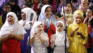 Muslim Children's Choir sing during an Interfaith Musical Tribute to the Human Spirit at the Tabernacle in Salt Lake City, Utah, Sunday, Feb. 8, 2009. Jeffrey D. Allred, Deseret News
