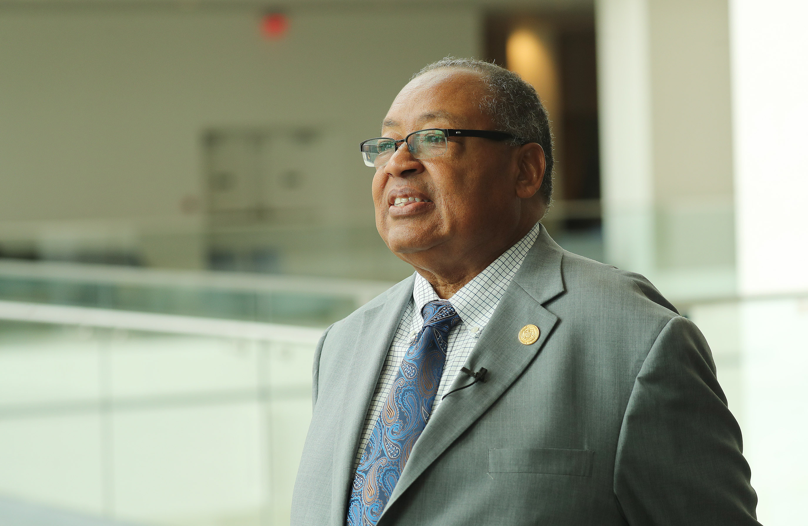 Leon W. Russell, chairman of the NAACP, is interviewed during the 110th annual national convention for the National Association for the Advancement of Colored People in Detroit, Michigan, on Sunday, July 21, 2019.