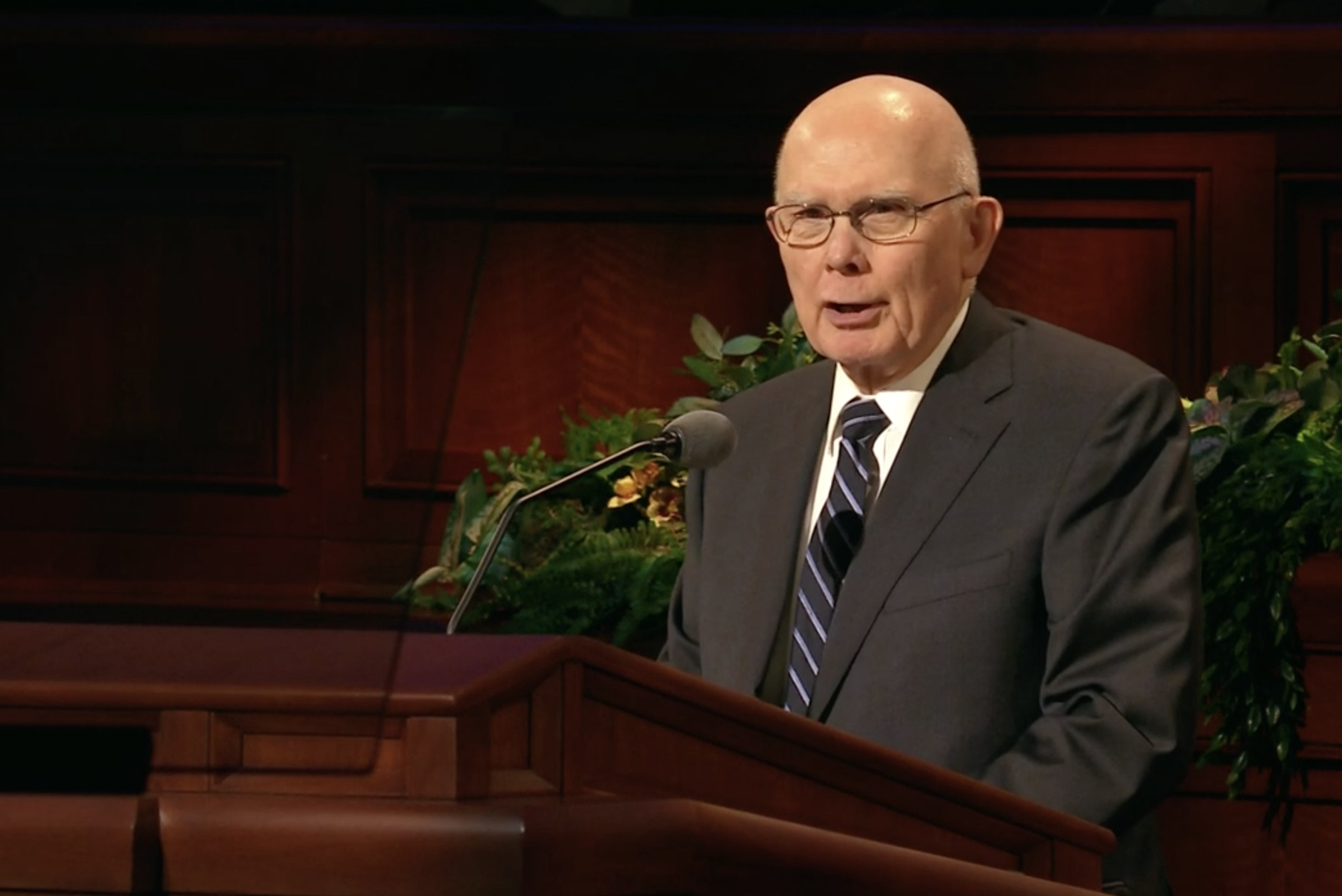 President Dallin H. Oaks, first counselor in the First Presidency, speaks during the priesthood session of the 189th Annual General Conference on April 6, 2019.