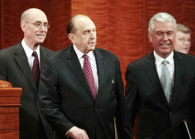 President Henry B. Eyring, left, President Thomas S. Monson and President Dieter F. Uchtdorf enter the Conference Center for the 180th Annual General Conference Saturday morning.
