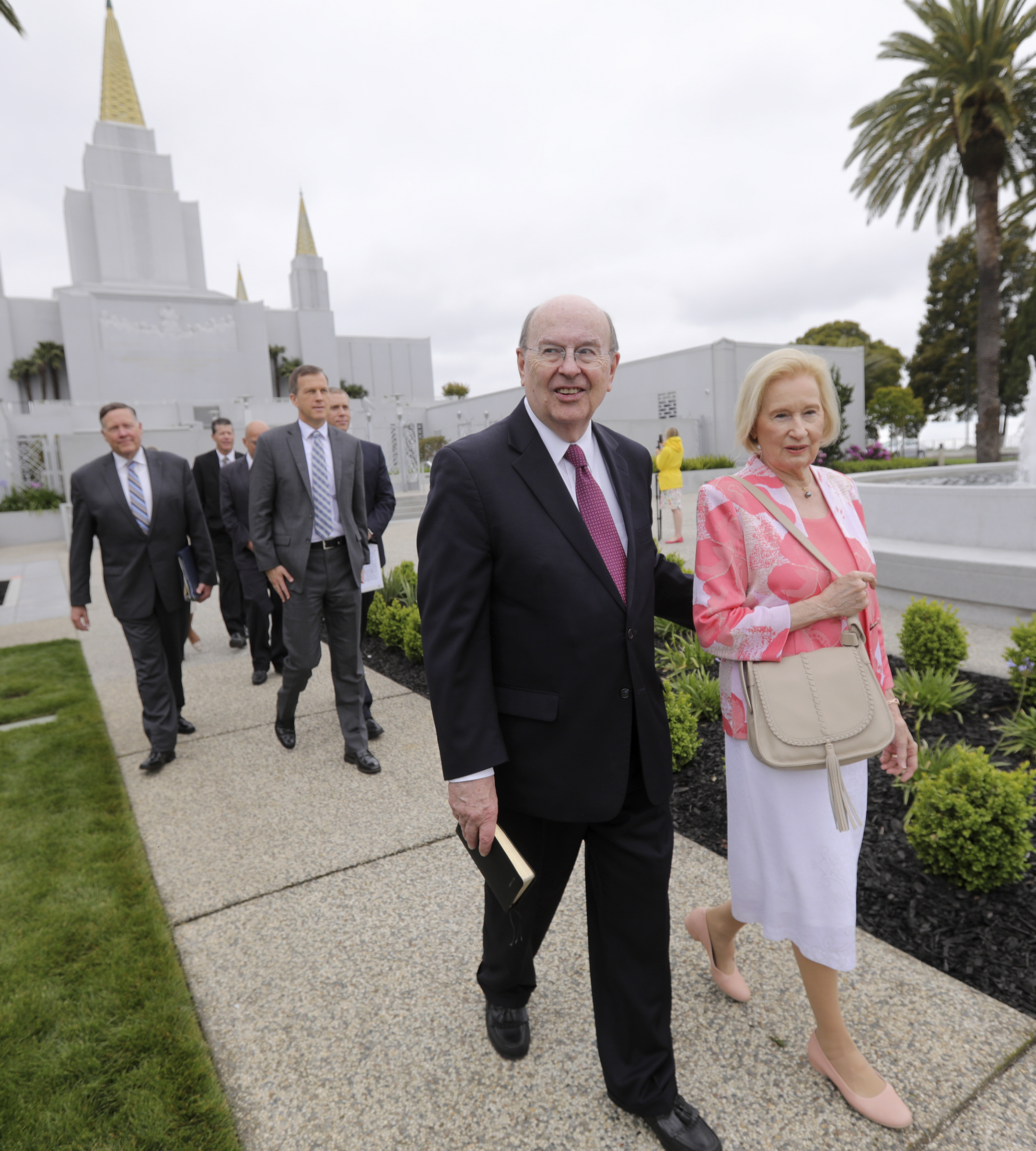 Elder Quentin L. Cook of the Quorum of the Twelve Apostles, and his wife, Sister Mary G. Cook, walk the temple grounds after finishing a tour of the newly renovated Oakland California Temple of The Church of Jesus Christ of Latter-day Saints, in Oakland, Calif., on Monday, May 6, 2019.