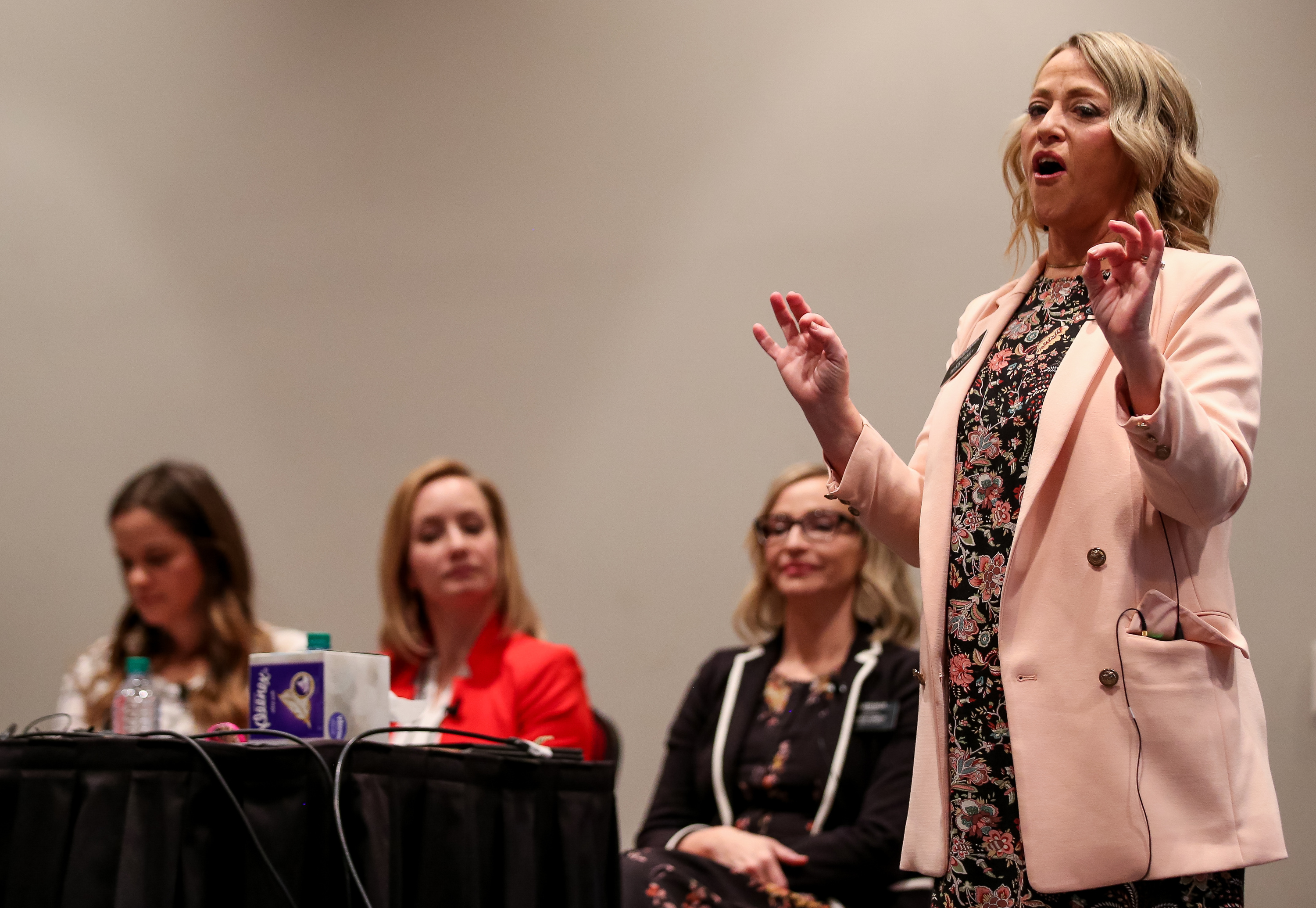 Rhonna Farrer speaks during the Light Keepers session at the RootsTech conference at the Salt Palace in Salt Lake City on Friday, March 1, 2019.