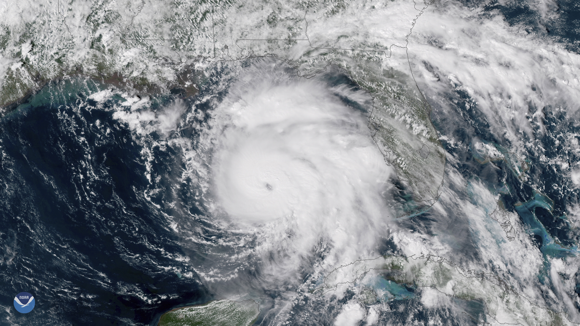 This Tuesday, Oct. 9, 2018 satellite image provided by NOAA shows Hurricane Michael, center, in the Gulf of Mexico.