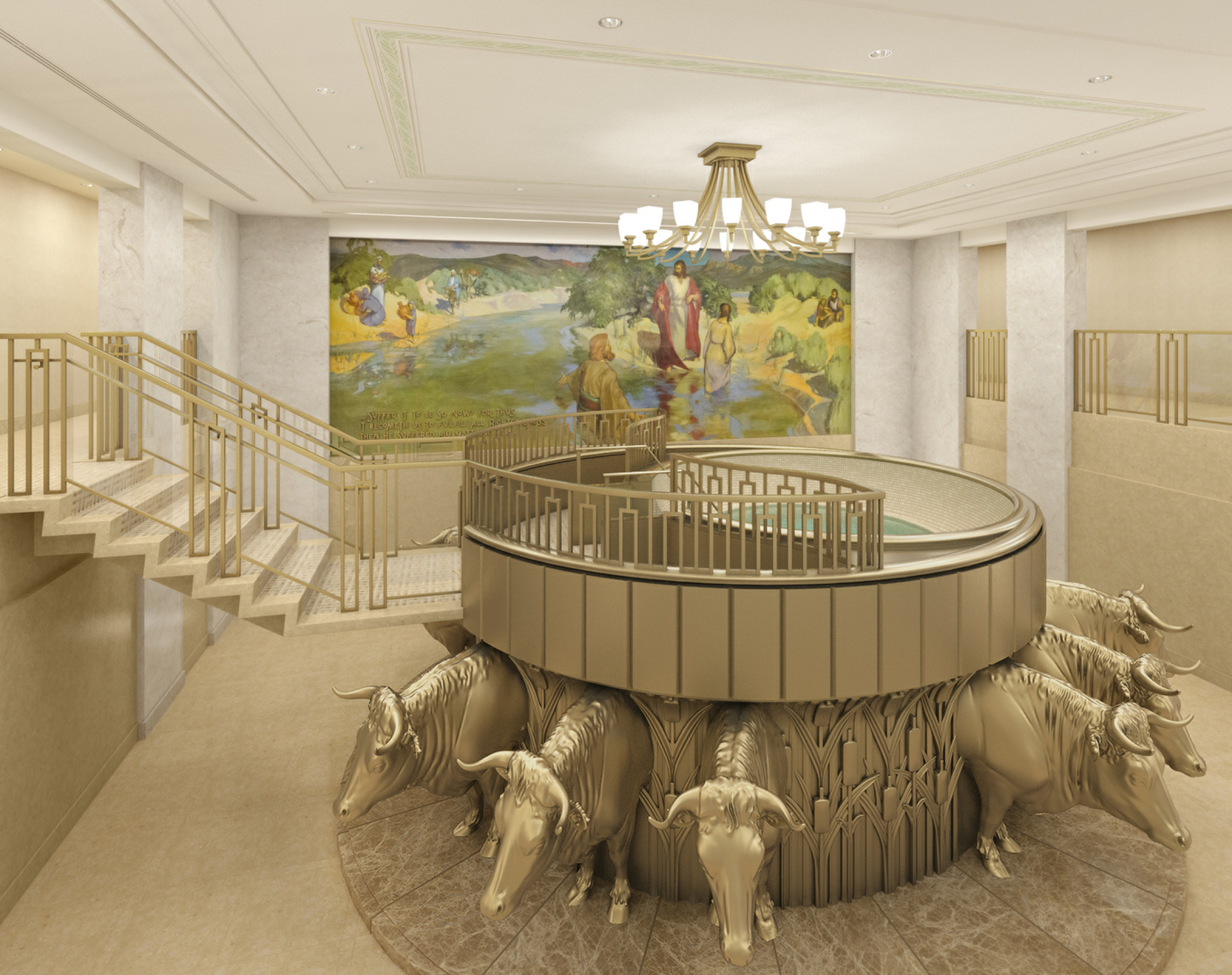 Rendering of baptistry in the Hamilton New Zealand Temple after renovation.