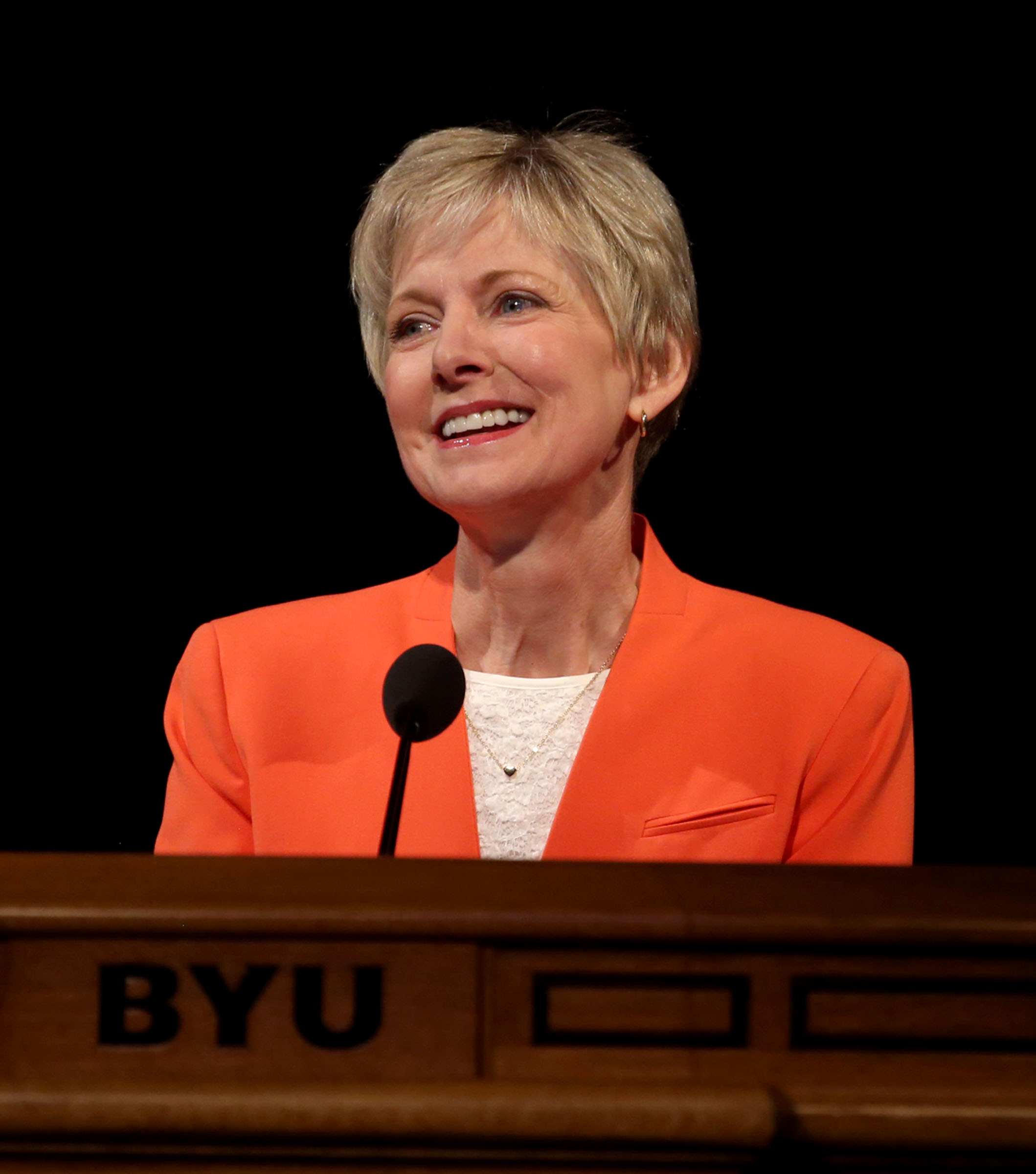 Jean B. Bingham, Relief Society General President, speaks at the BYU Women's Conference in the Marriott Center at BYU in Provo on Friday, May 5, 2017.
