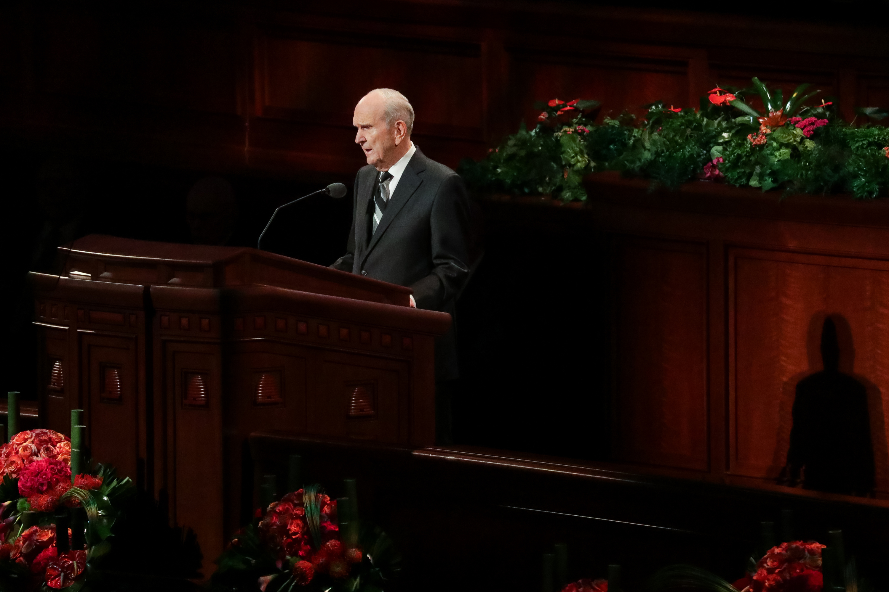 President Russell M. Nelson speaks during the Saturday morning session of the 188th Semiannual General Conference of The Church of Jesus Christ of Latter-day Saints in the Conference Center in Salt Lake City on Saturday, Oct. 6, 2018.