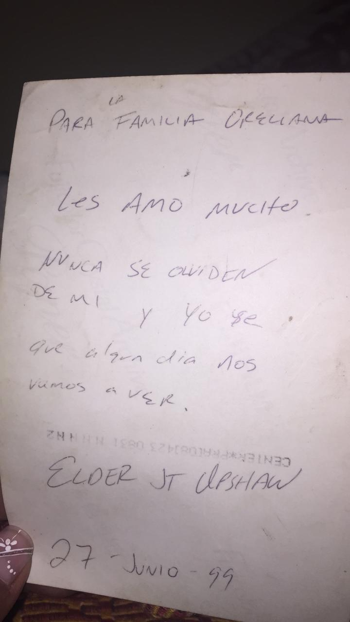 """The note on the back of a photo which Tommy Upshaw wrote on the last day he visited Celestino Orellana while serving in Tupiza some 20 years ago. It reads, """"I love you so much. Don't forget about me and I know that someday we'll see each other again."""""""