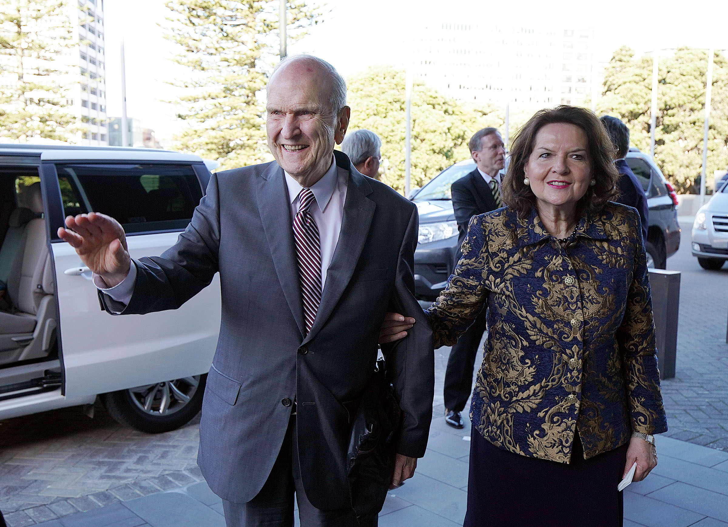 President Russell M. Nelson of The Church of Jesus Christ of Latter-day Saints and his wife, Sister Wendy Nelson, arrive to meet with New Zealand Prime Minister Jacinda Ardern in Wellington on Monday, May 20, 2019.