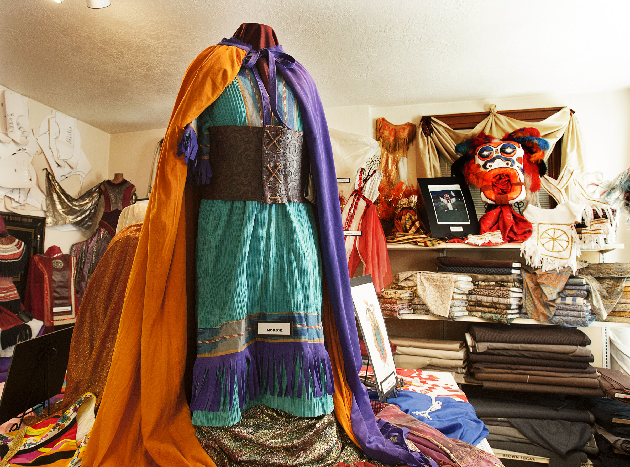 A display showcases costumes from all 50 years of the Mormon Miracle Pageant in Manti on Wednesday, June 15, 2016.