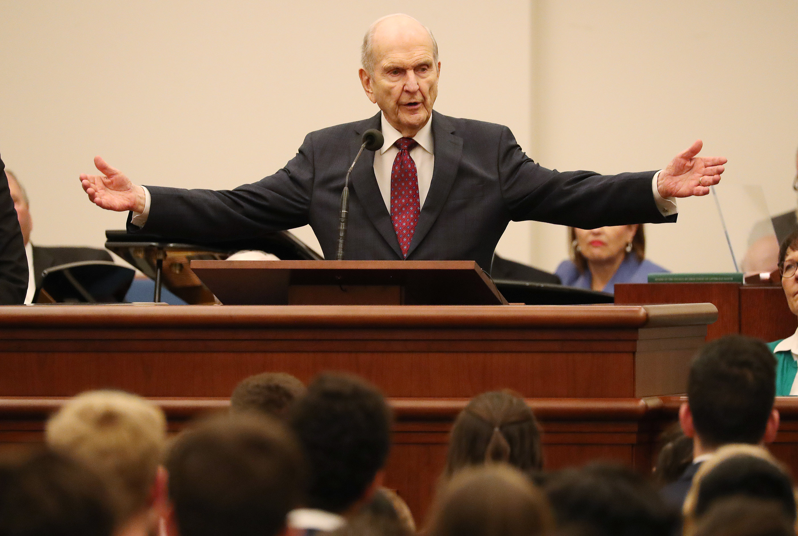 President Russell M. Nelson of The Church of Jesus Christ of Latter-day Saints speaks in a youth devotional in Rome, Italy, on Saturday, March 9, 2019.