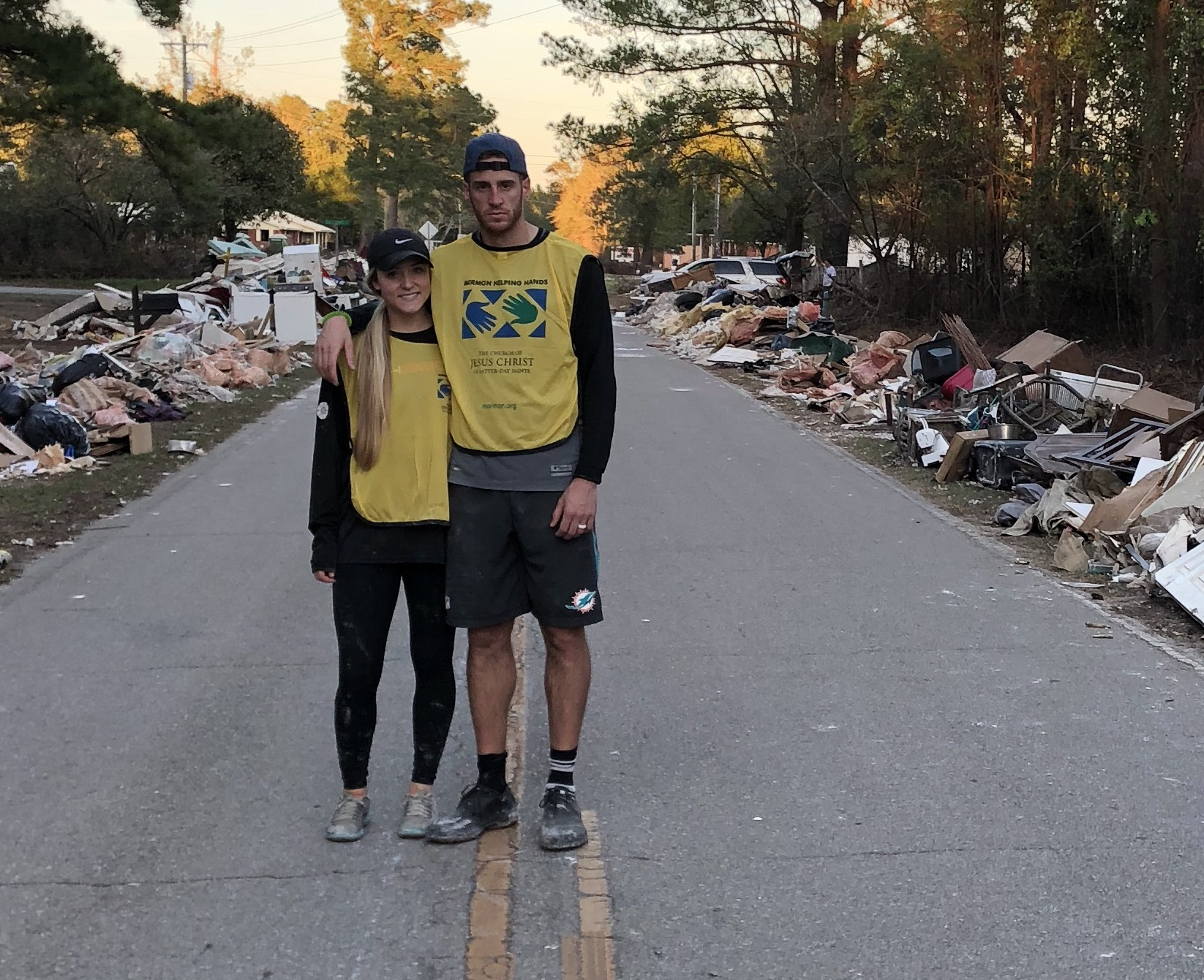 Madie and Mitch Mathews left their Georgia home to spend a weekend working with a Church-sponsored Helping Hands crew in Wilmington, North Carolina, following Hurricane Florence.