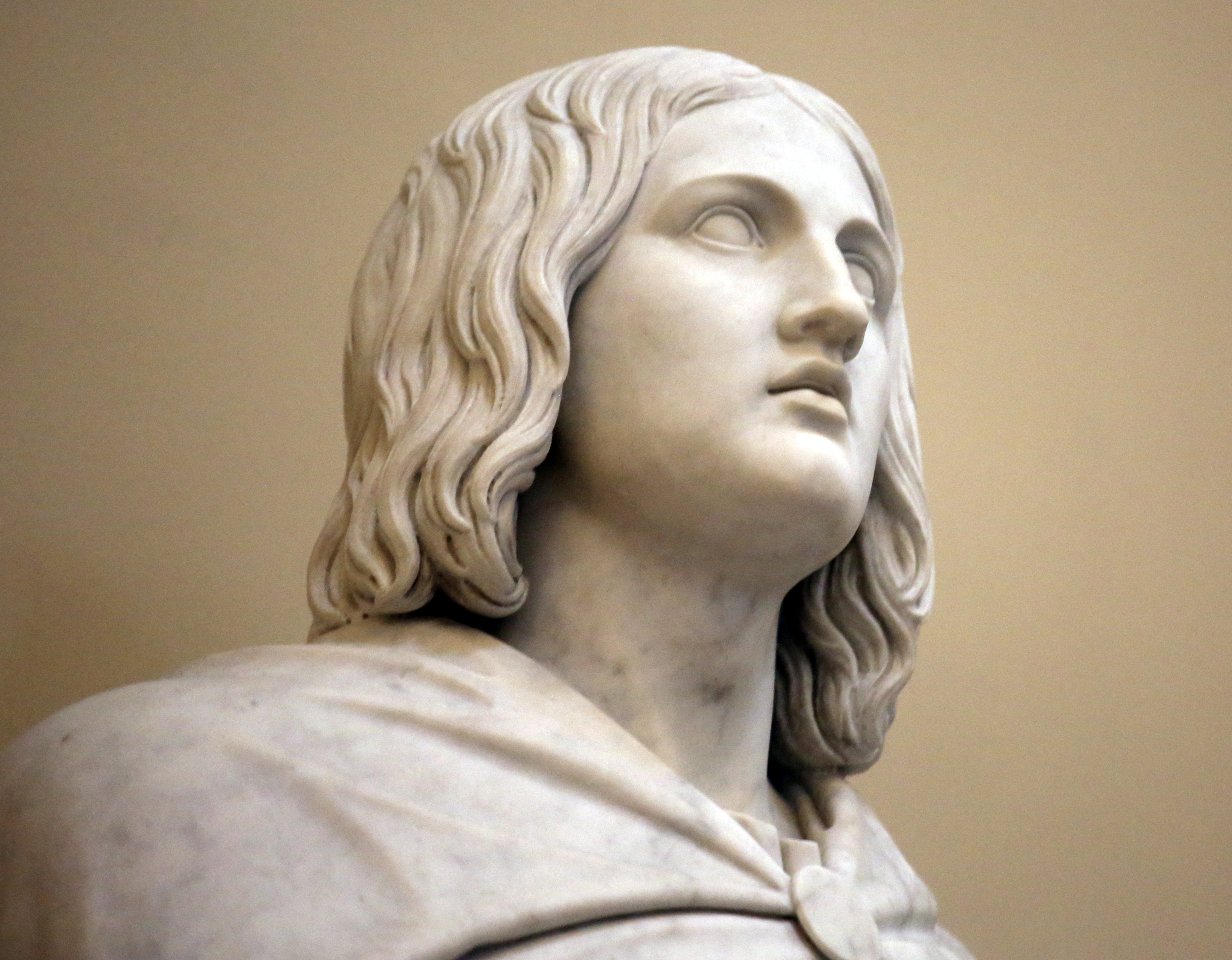 Bertel Thorvaldsen's statue of John, one of the 12 apostles, is shown without a beard at the Church of Our Lady in Copenhagen, Denmark, on Tuesday, Nov. 13, 2018. The 12 apostles statues were carved out of Carrara marble between 1829 and 1848. Replicas of the statues are now on display in the Rome Temple Visitors' Center in Italy.