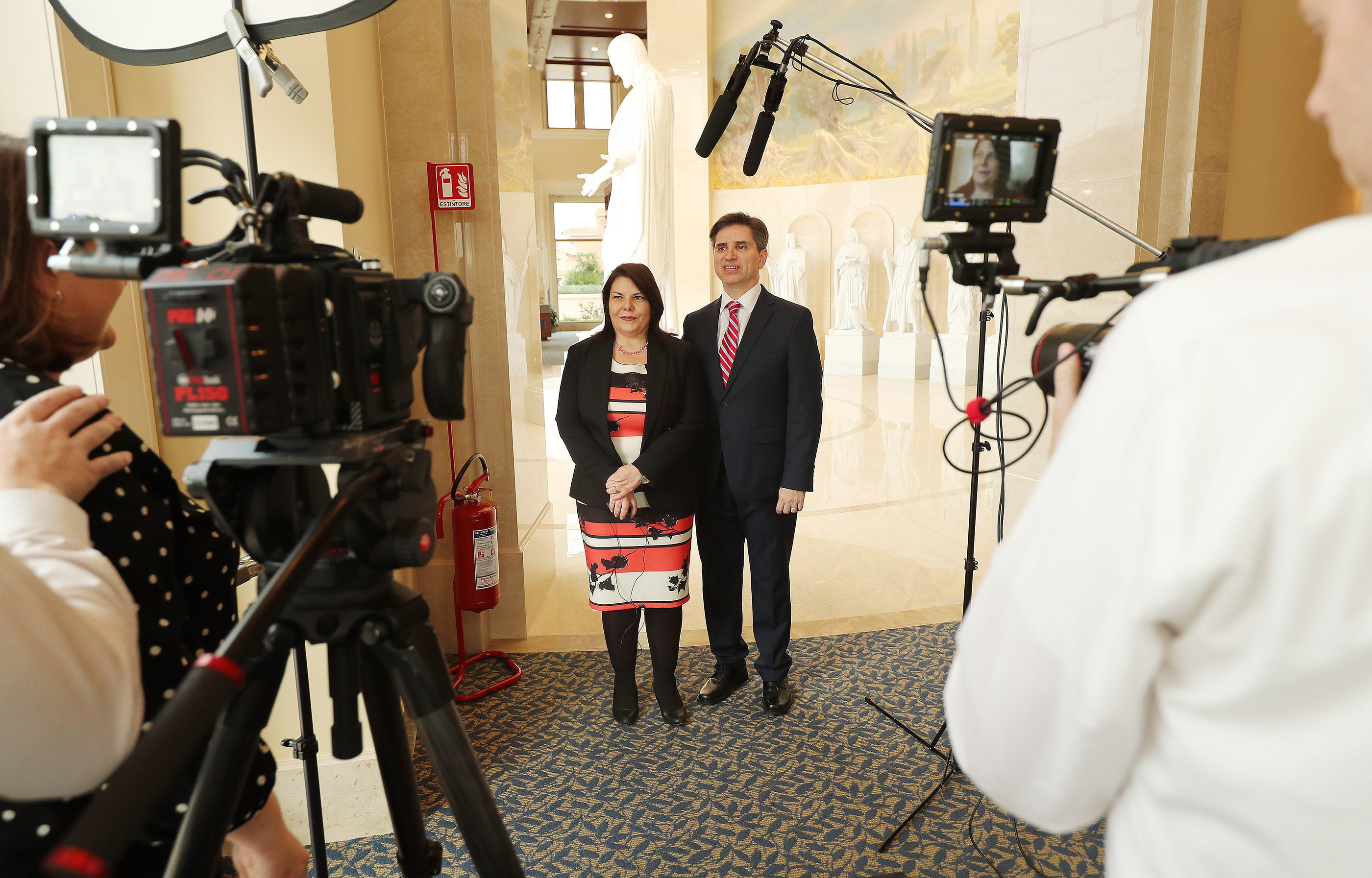 Elder Massimo De Feo, a General Authority Seventy, and his wife, Sister Loredana Galeandro De Feo, speak with media in the Rome Temple Visitors' Center of The Church of Jesus Christ of Latter-day Saints in Rome, Italy, on Friday, March 8, 2019. De Feo was born in Italy.