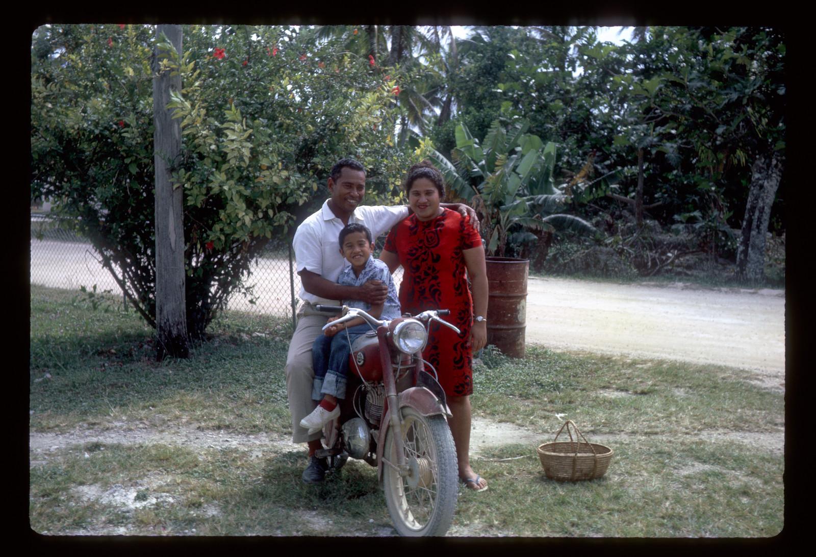 Feki Po'uha with his wife, Foli, and son Joe in August 1966 in Tonga.