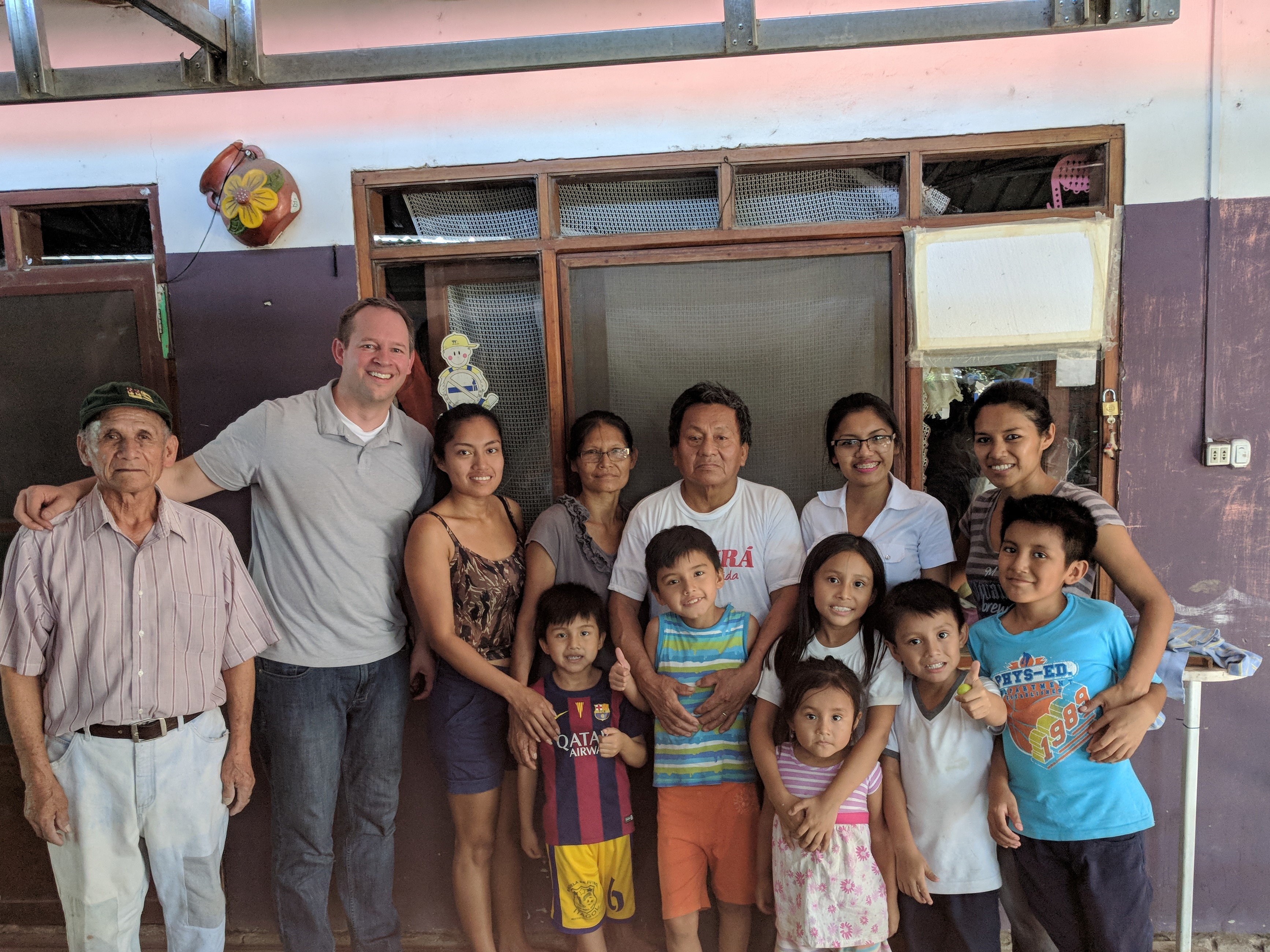 David McConkie with the Antesana family, when they reunited in Montero, Santa Cruz, Bolivia in October.