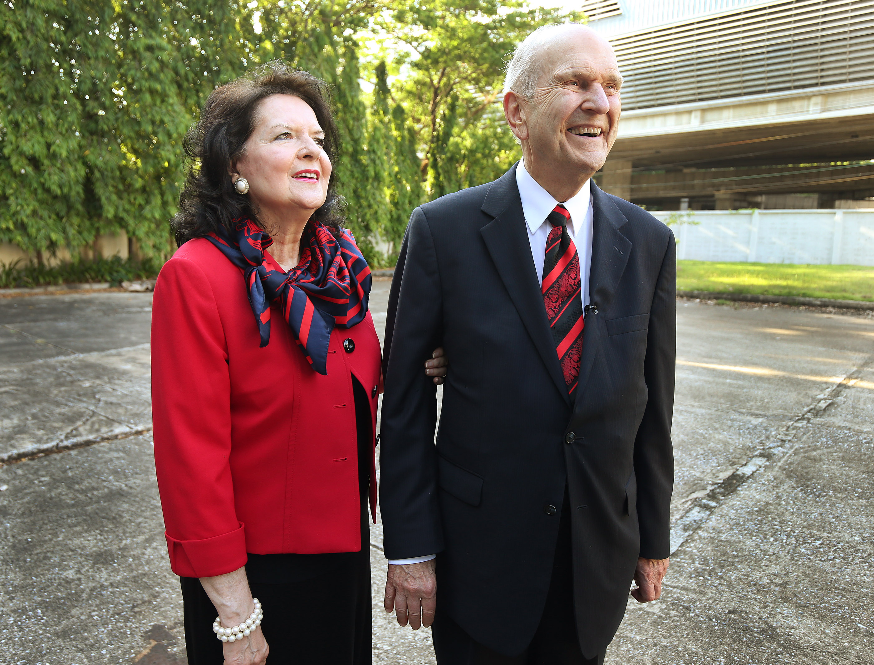 President Russell M. Nelson and his wife, Sister Wendy Nelson, look over the site for a future temple in Bangkok, Thailand, on Friday, April 20, 2018.