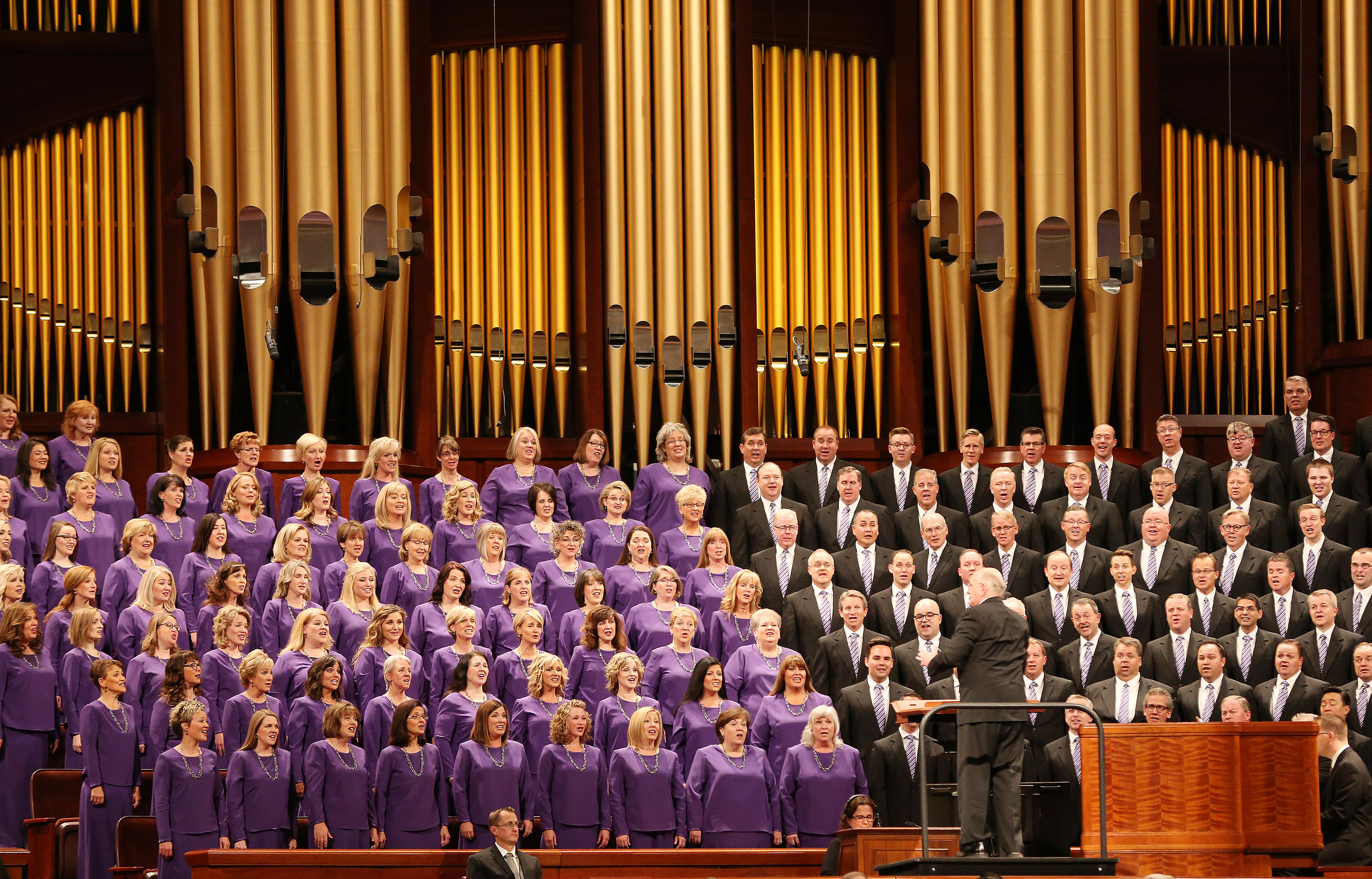The Tabernacle Choir at Temple Square sings during the 188th Semiannual General Conference of The Church of Jesus Christ of Latter-day Saints in the Conference Center in Salt Lake City on Saturday, Oct. 6, 2018.