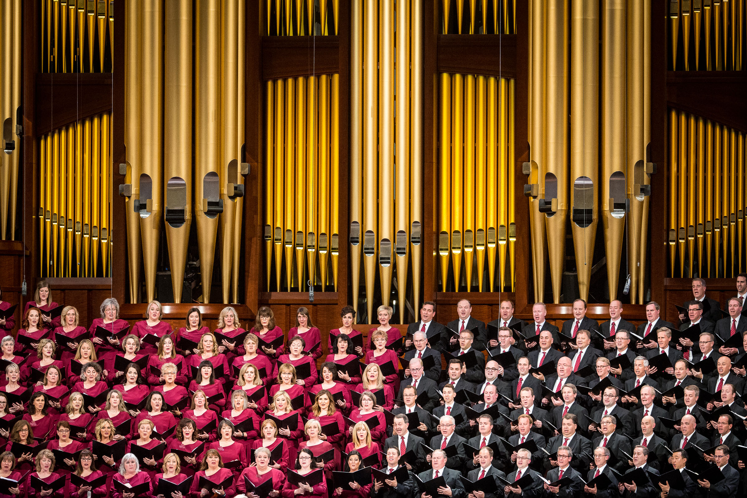 The Tabernacle Choir, accompanied by the Orchestra at Temple Square, sings during the First Presidency's Christmas Devotional in the Conference Center in Salt Lake City on Sunday, Dec. 2, 2018.