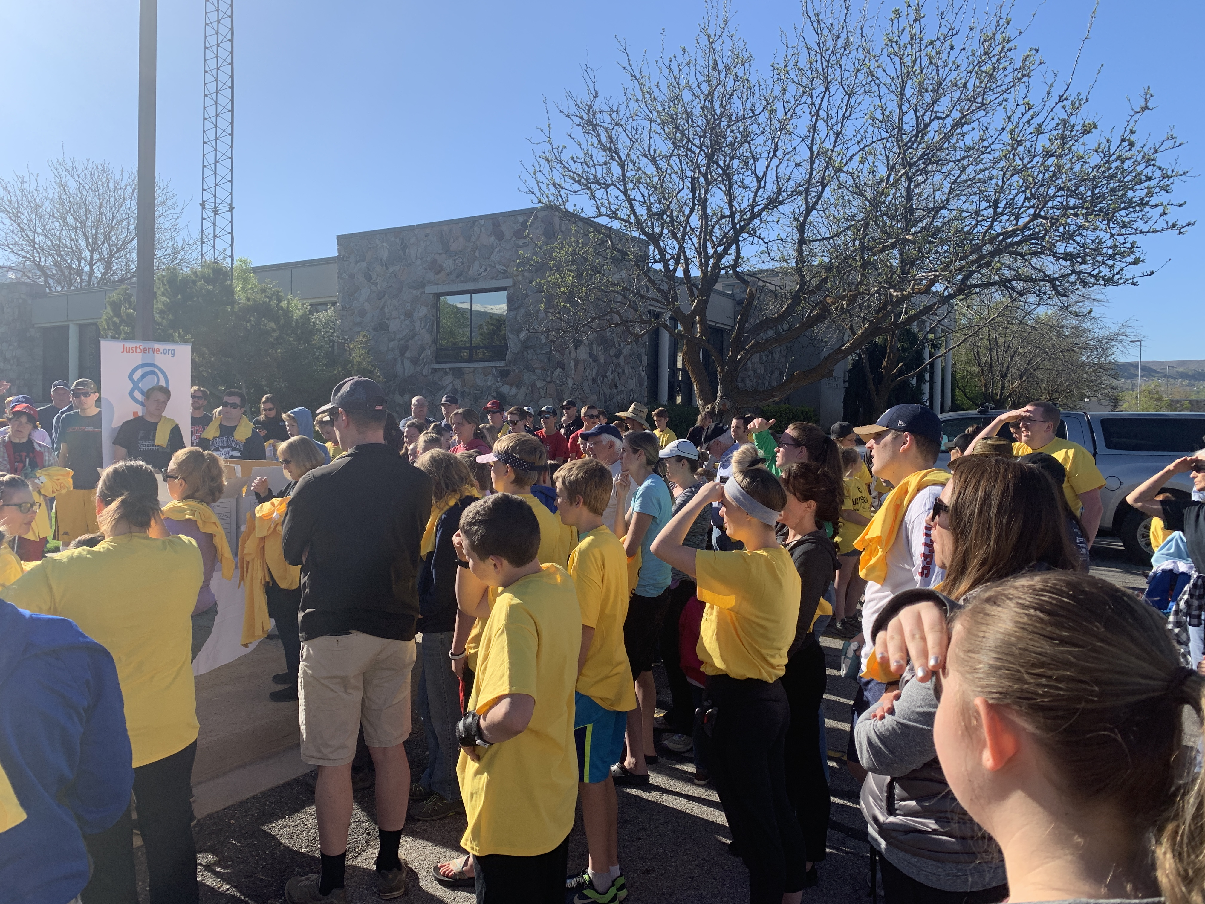 JustServe volunteers gather to help serve the Salt Lake community as part of the Salt Lake Bees/JustServe day of service on April 27.