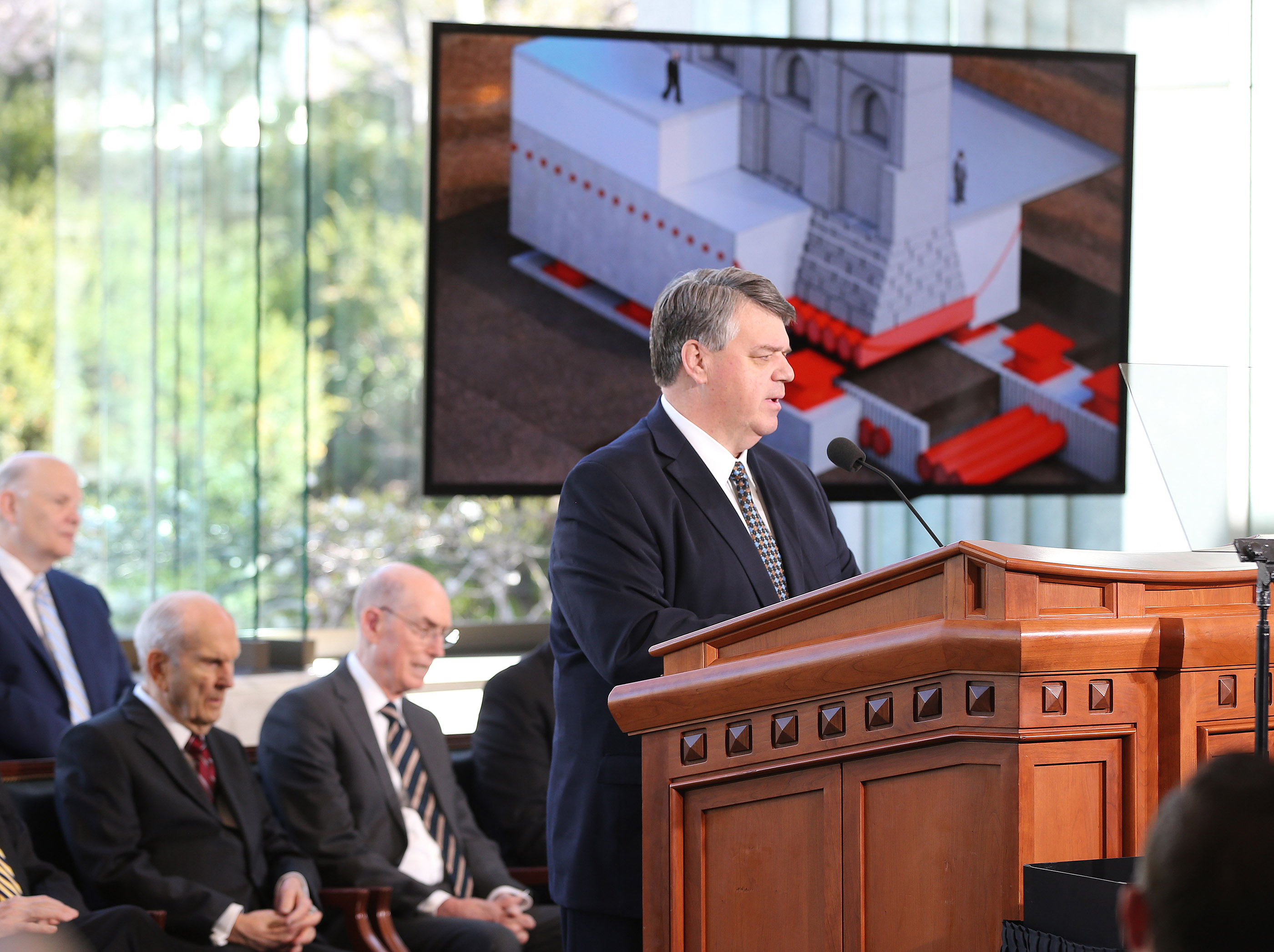 Brent Roberts, director of operations for The Church of Jesus Christ of Latter-day Saints, talks about renovation plans for the Salt Lake Temple during at a press conference in Salt Lake City on Friday, April 19, 2019.