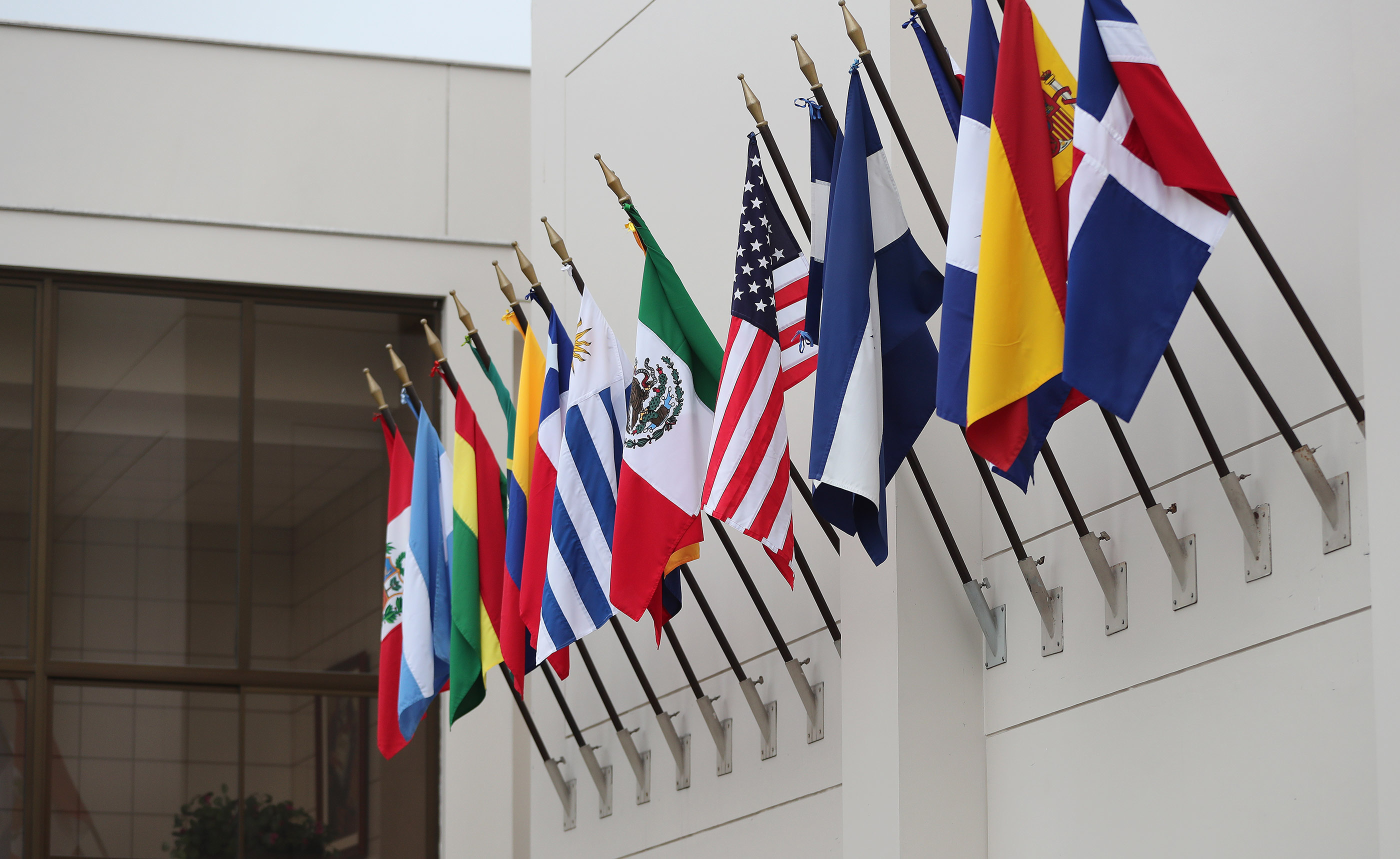 Flags are displayed at the Peru Missionary Training Center in Lima, Peru on Friday, Oct. 19, 2018.