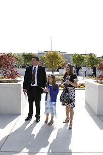 Danny and Jaime Waxter and their daughter, Madelyn, of Winder, Ga., attend rededication of the Atlanta temple.