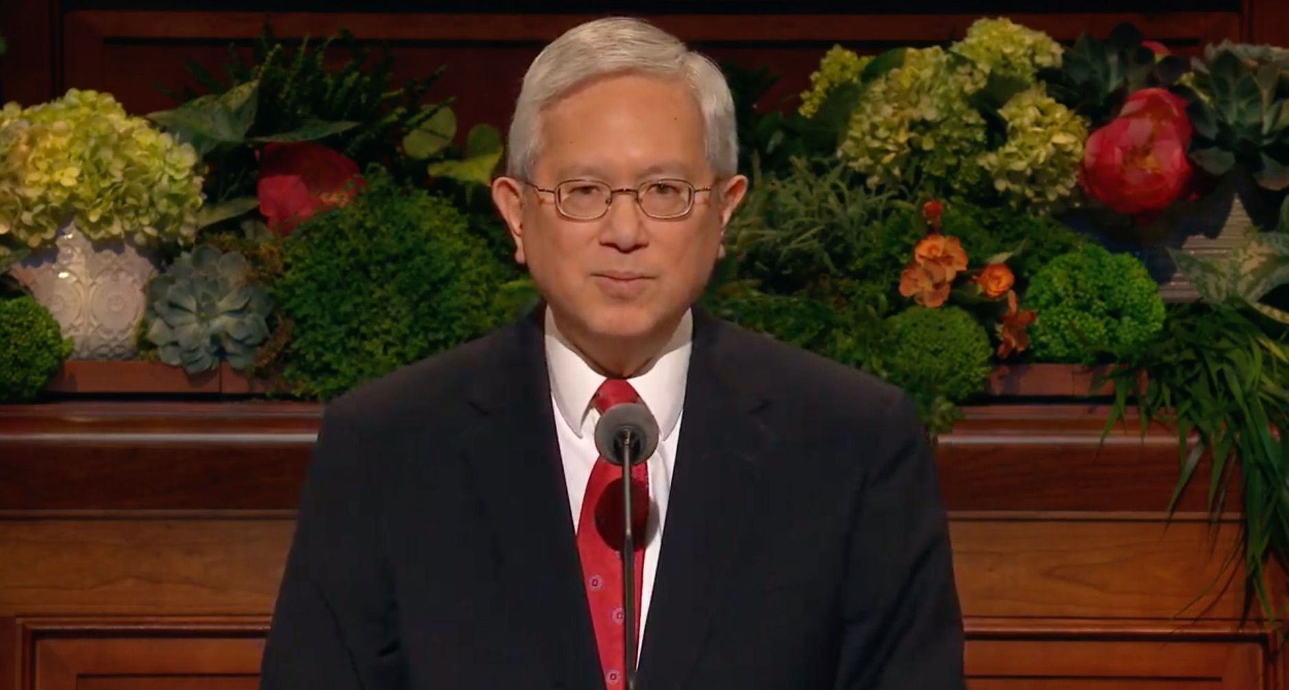 Elder Gerrit W. Gong of the Quorum of the Twelve Apostles gives his address during the Sunday afternoon session of the 189th Annual General Conference on April 7, 2019.