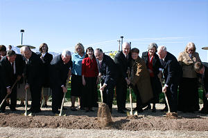 Church leaders and local stake presidents and their wives joined Elder Andersen, center, in turning the first shovelfuls of earth at the Feb. 14 groundbreaking of the Gila Valley Arizona Temple.