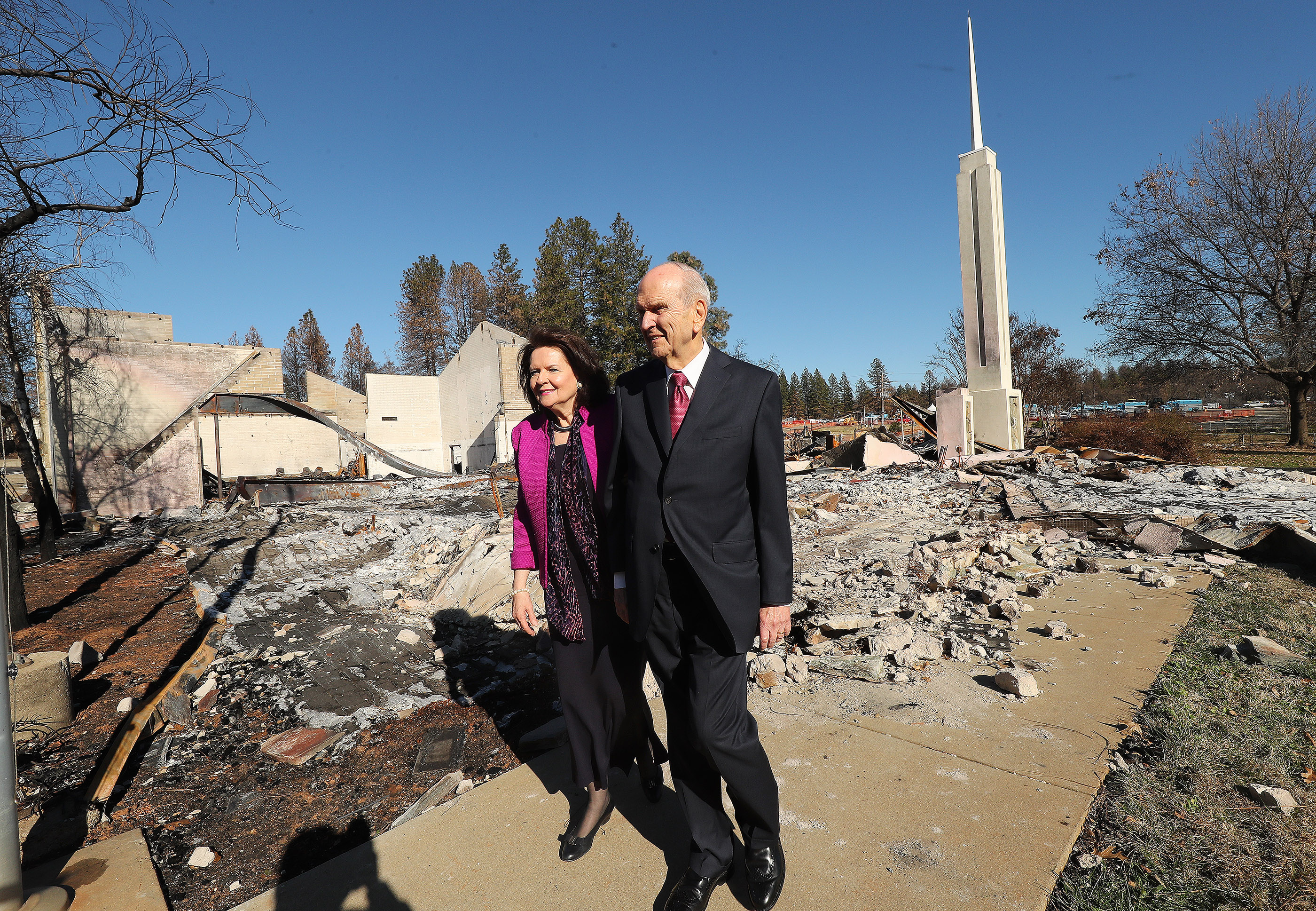 "President Russell M. Nelson of The Church of Jesus Christ of Latter-day Saints looks over destroyed LDS chapel with his wife Wendy Nelson in Paradise, California on Sunday, Jan. 13, 2019, two months after the Camp Fire destroyed 1,400 homes and hundreds of businesses. President Nelson wrote about the visit in an op-ed published Feb. 10 in The Arizona Republic. Life with God is far better than one without him, he wrote in the op-ed, titled ""Healing Hearts."""