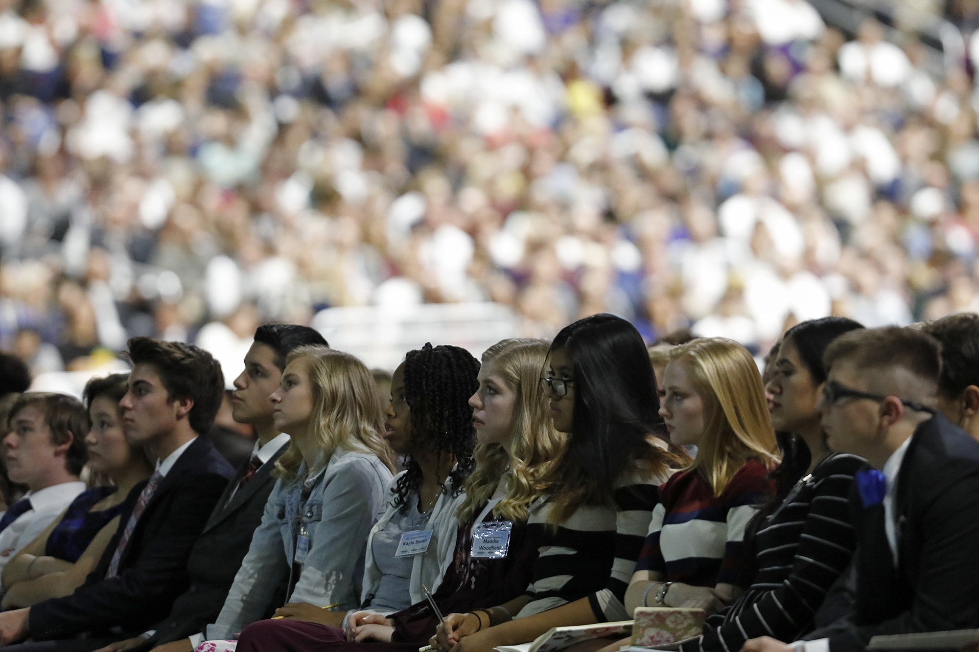 Local Latter-day Saint Youth listen to speakers during the special devotional held Sunday Nov. 18, 2018, at the Alamodome in San Antonio, Texas. On Dec. 14, 2018, the First Presidency announced changes to the timeline children and youth in The Church of Jesus Christ of Latter-day Saints will complete Primary, move from one class or quorum to the next and attend the temple for the first time. The changes, also impact when young men may be ordained to priesthood offices.