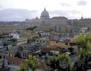 St. Peter's Basilica at the Vatican is a focal point in Rome's skyline.