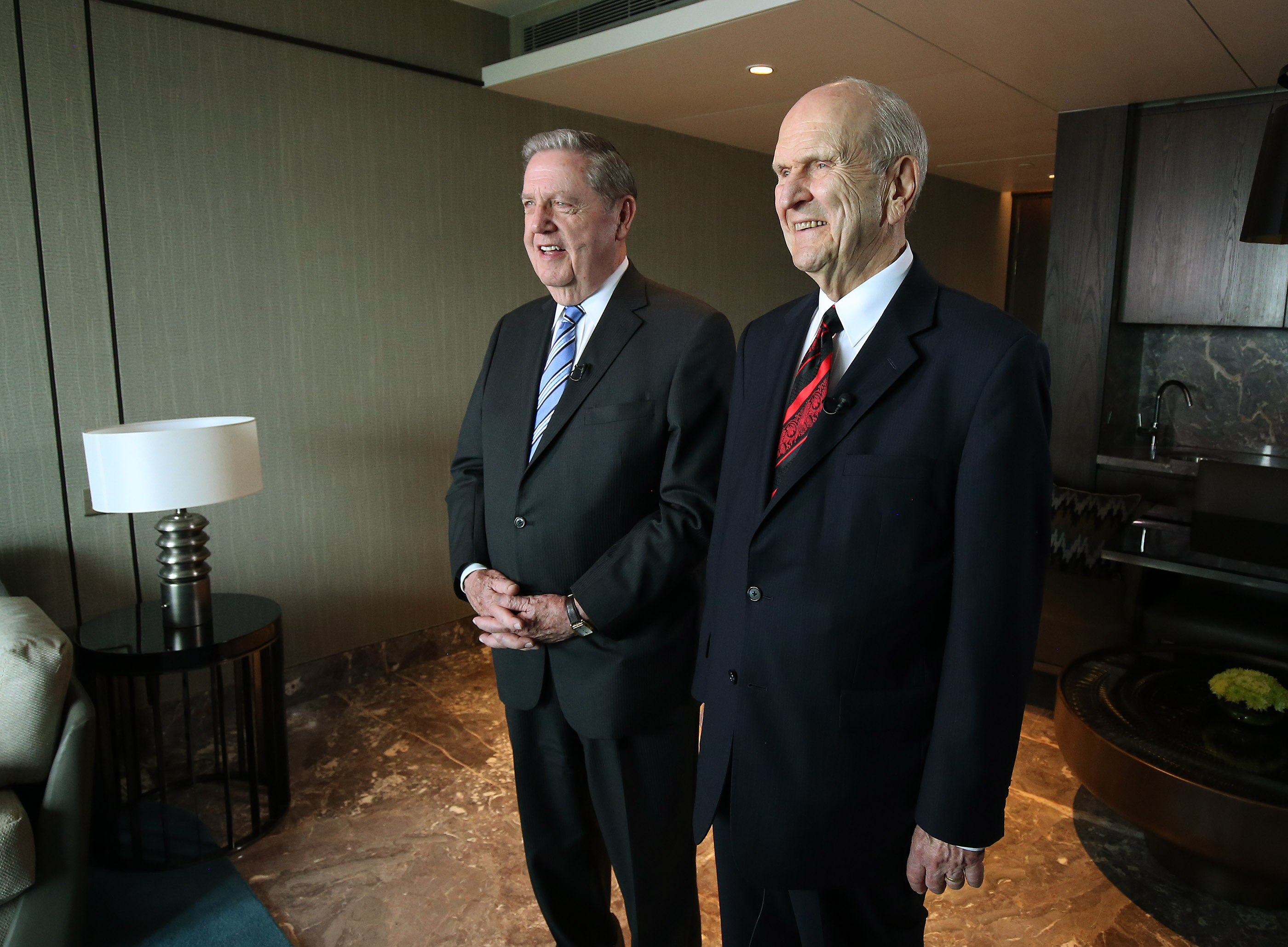 Elder Jeffrey R. Holland of the Quorum of the Twelve Apostles and President Russell M. Nelson smile during a press conference in Bengaluru, India, on Thursday, April 19, 2018.