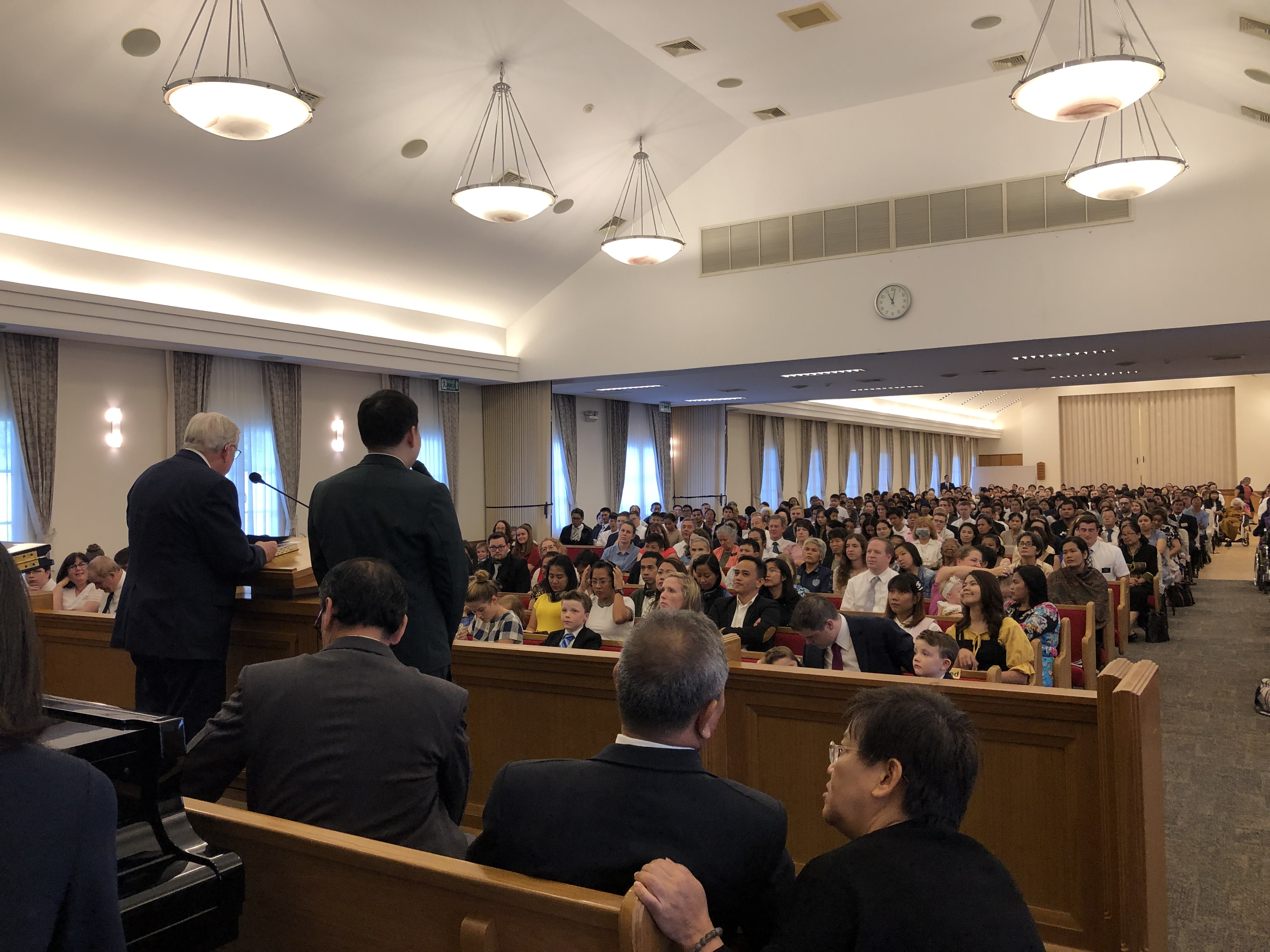 President M. Russell Ballard speaks during a stake conference in the Thailand Bangkok North Stake in May 2019.