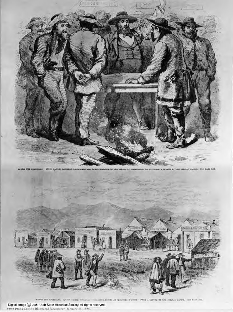 Frank Leslie's Illustrated Newspaper drawings represent the atmosphere, particularly the gambling crowds, at Promontory, Utah, during the joining of the Central Pacific and Union Pacific railroad in 1869.