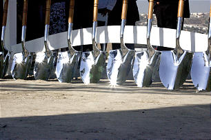 Church leaders break ground of the Tijuana Mexico Temple.