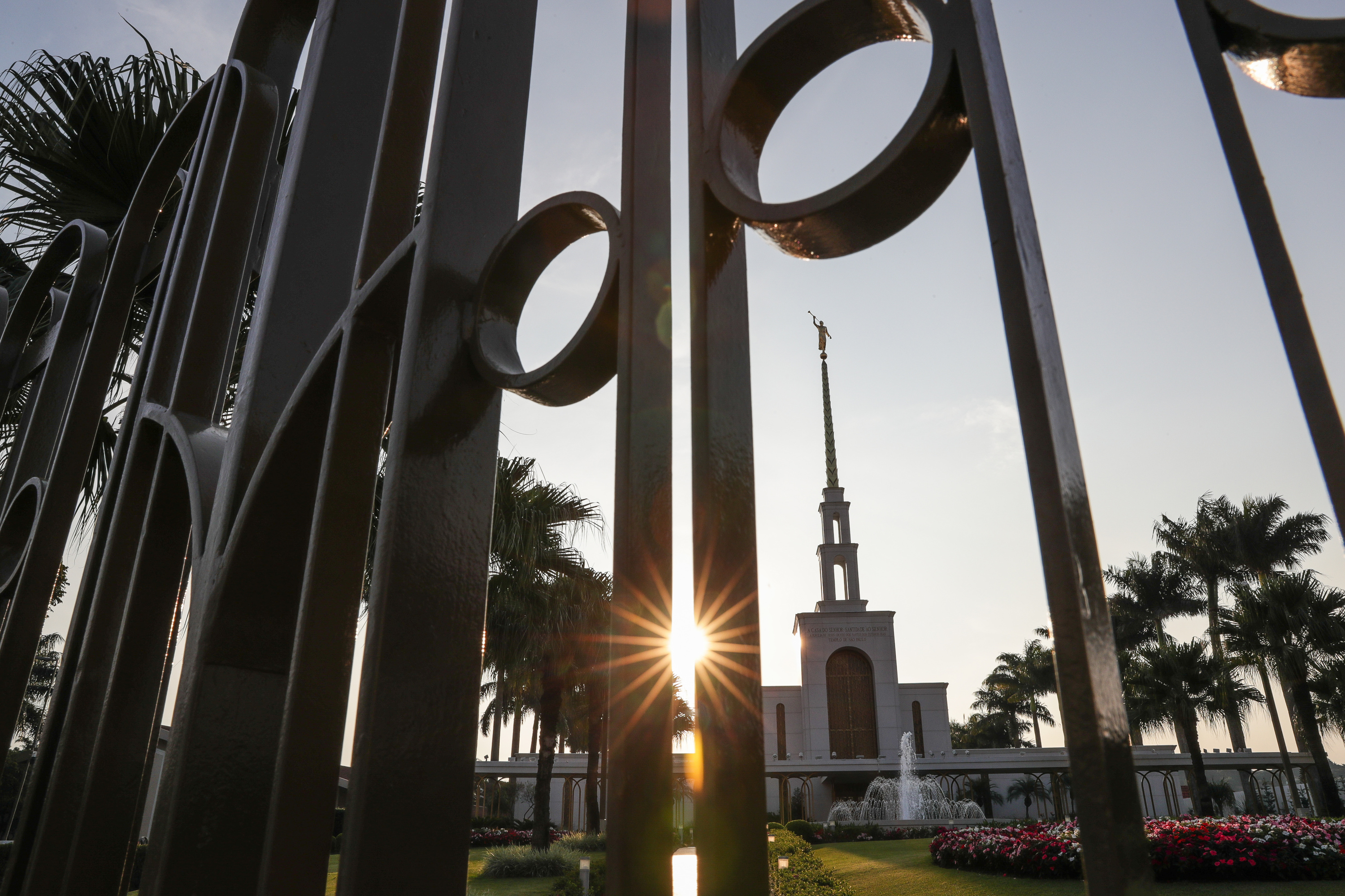 The LDS Church's São Paulo Temple is seen at sunset in São Paulo, Brazil on Wednesday, May 23, 2018.