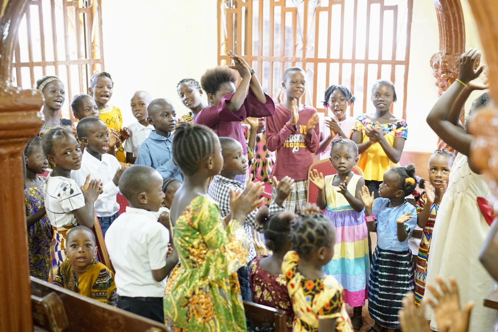 A group of Primary children sing and participate during Church in Sierra Leone. Sister Jean B. Bingham, Relief Society general president, visited the West African country June 5 through June 16, 2019.
