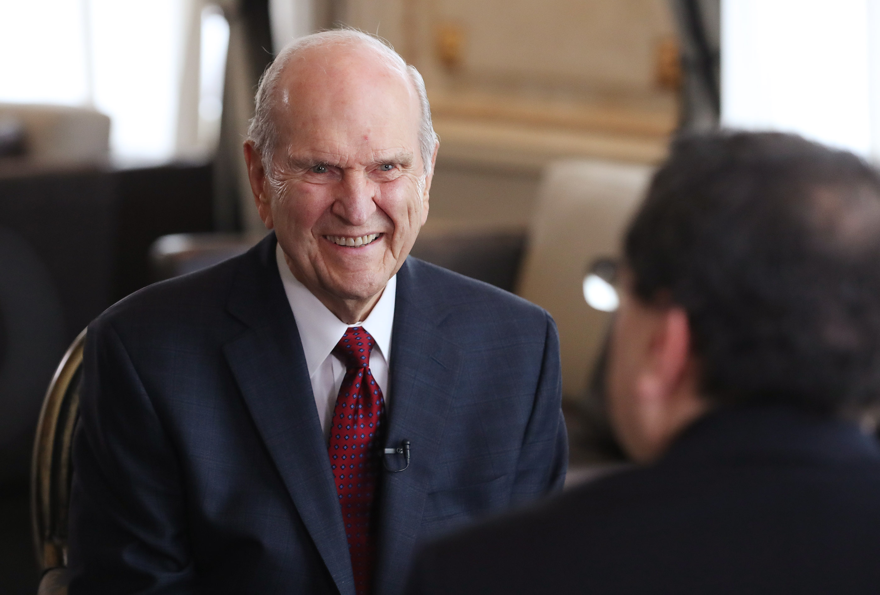 President Russell M. Nelson of The Church of Jesus Christ of Latter-day Saints is interviewed by Sergio Rubin, Argentine journalist and biographer of Pope Francis, in Montevideo, Uruguay on Oct. 26, 2018.
