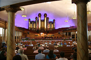 """The Mormon Tabernacle Choir performs during the July 11 broadcast of """"Music and the Spoken Word"""" inside the Conference Center."""