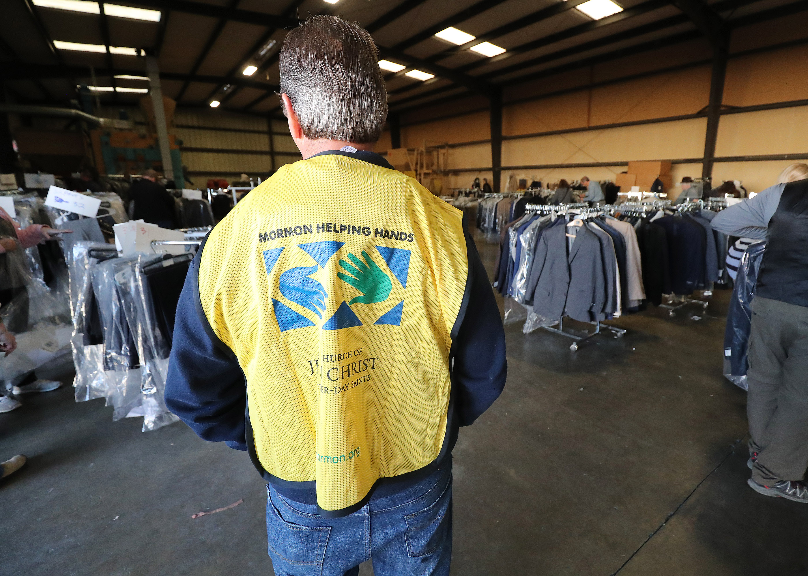 Free suites are given away through Working Wardrobes with help of LDS Helping Hands in Chico, California, on Saturday, Jan. 12, 2019, two months after the Camp Fire destroyed more than 18,000 homes and businesses.