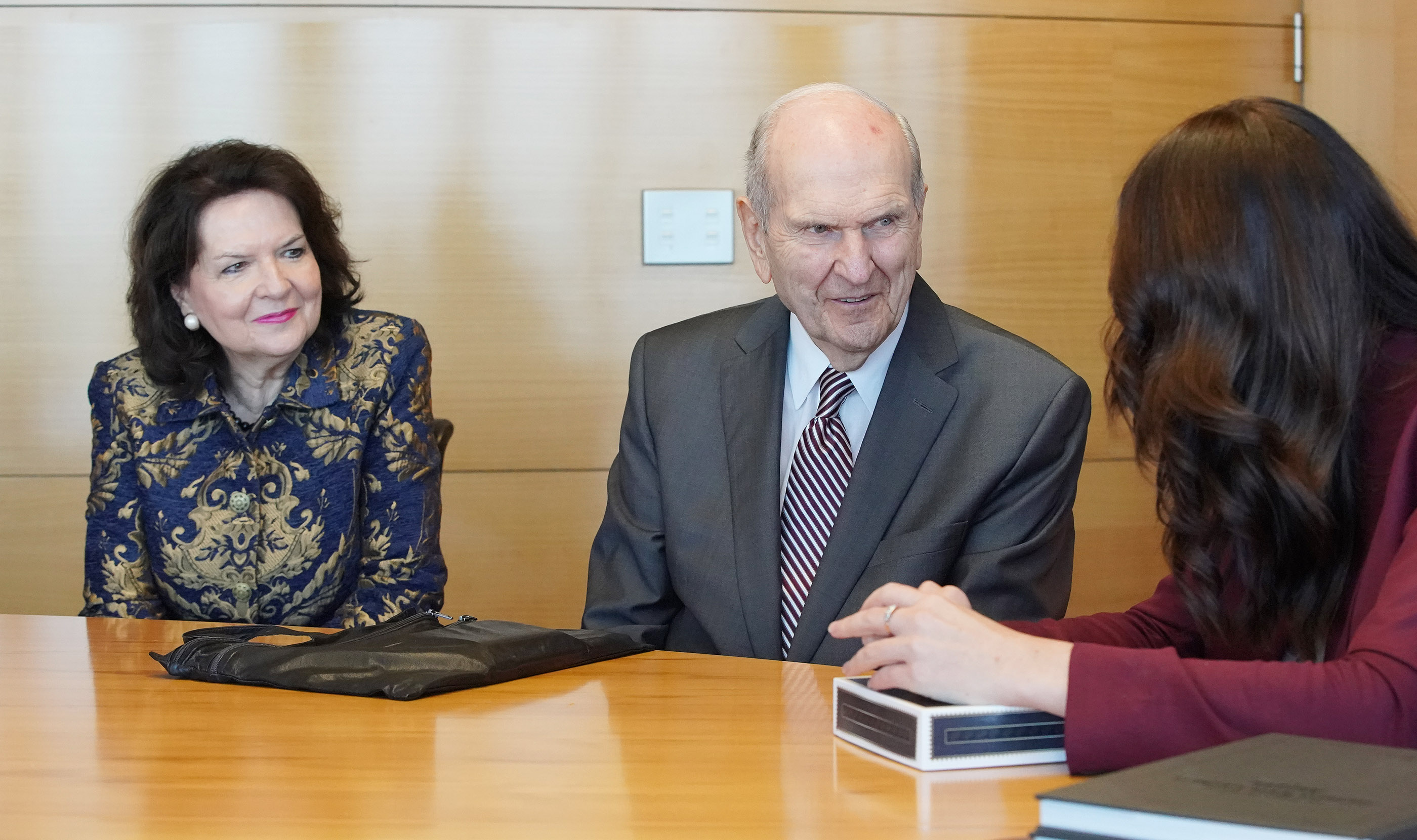 President Russell M. Nelson of The Church of Jesus Christ of Latter-day Saints and his wife, Sister Wendy Nelson, meet with New Zealand Prime Minister Jacinda Ardern in Wellington, New Zealand, on Monday, May 20, 2019.