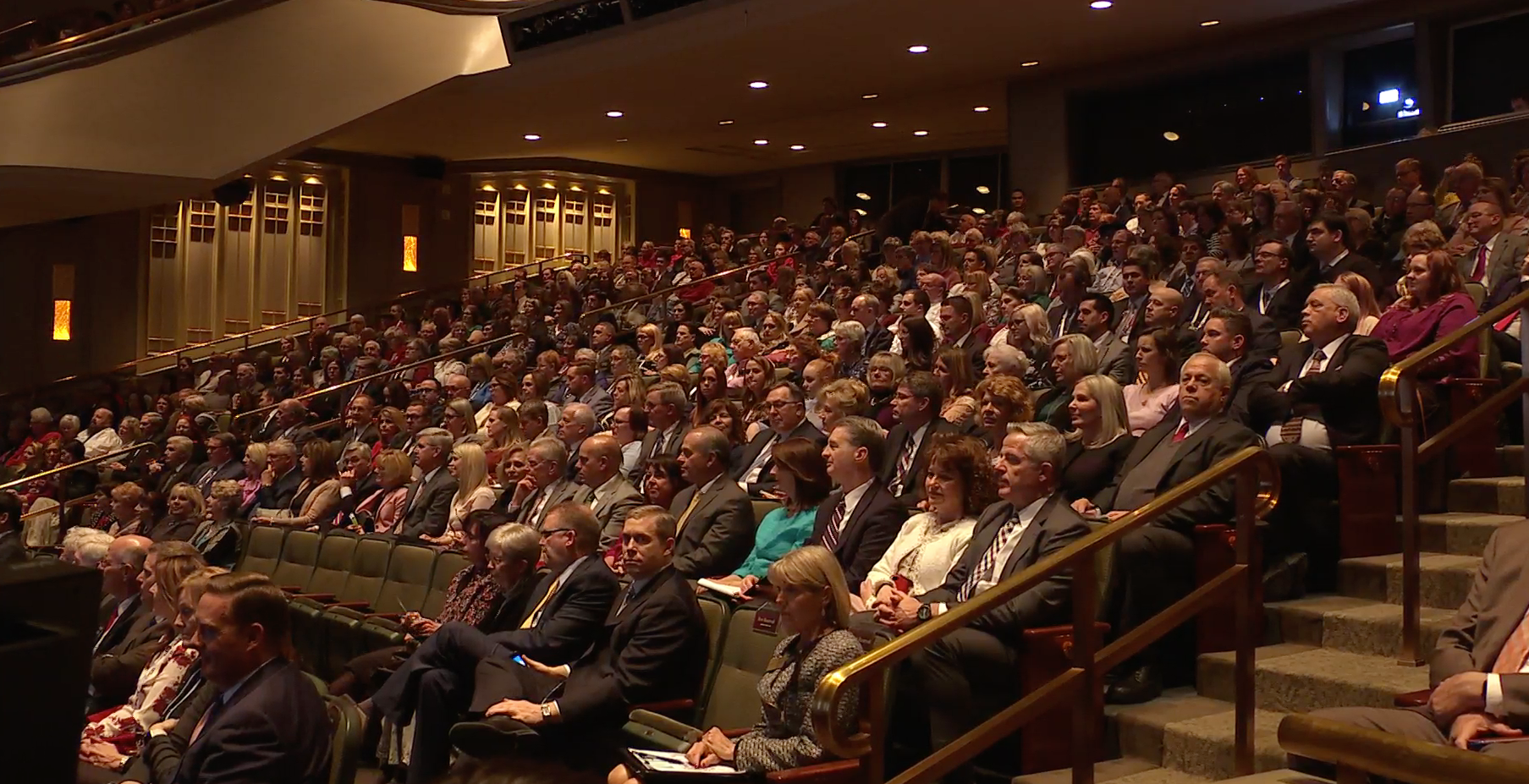 A screenshot of the audience in the Conference Center Theater during a broadcast on Feb. 28 to ward and stake leaders and members involved in temple and family history work.