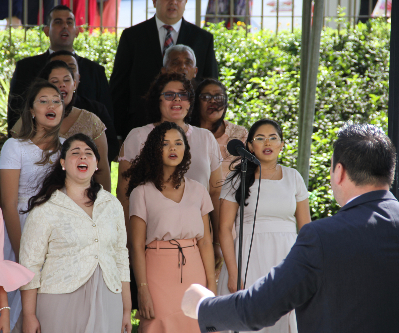 Members of the choir sing at the cornerstone ceremony of the Fortaleza Brazil Temple dedication on Sunday, June 2, 2019.