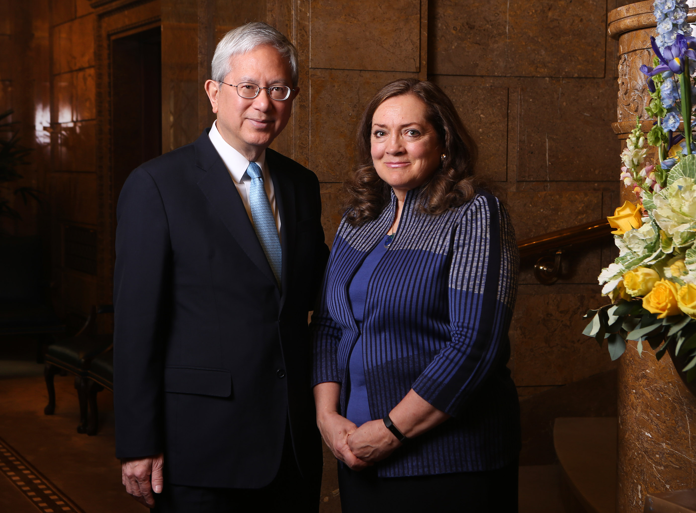 Elder Gerrit W. Gong, newly sustained as a member of the Quorum of the Twelve Apostles, and his wife, Sister Susan Gong, in Salt Lake City on Friday, April 6, 2018.