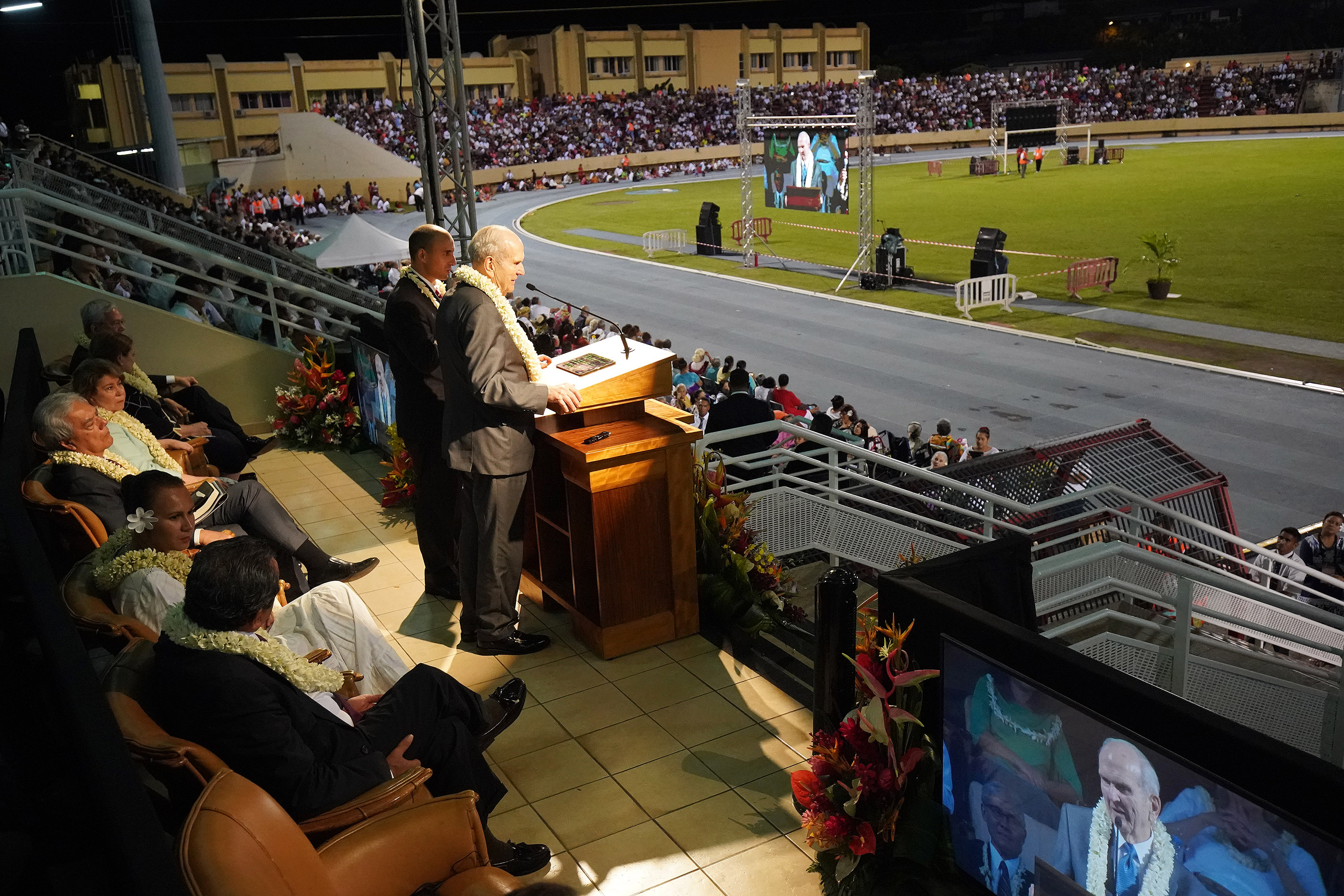 President Russell M. Nelson of The Church of Jesus Christ of Latter-day Saints speaks during a devotional at Stade Pater stadium in Papeete, Tahiti, on May 24, 2019.