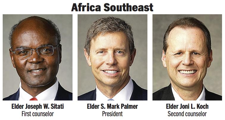Africa Southeast Area presidency: Elder S. Mark Palmer, Elder Joseph W. Sitati and Elder Joni L. Koch.