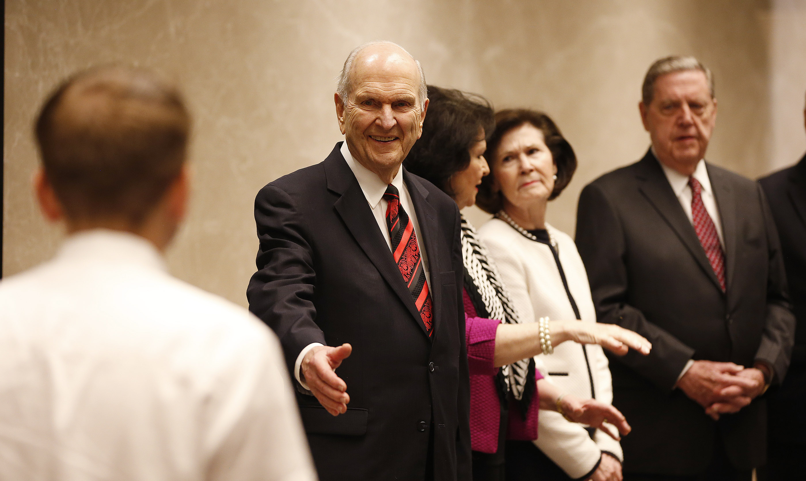 President Russell M. Nelson, his wife, Sister Wendy Nelson, Sister Patricia Holland and her husband, Elder Jeffrey R. Holland of the Quorum of the Twelve Apostles, greet missionaries prior to a conference in Bengaluru, India, on Thursday, April 19, 2018.