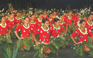 Youth dance during evening program which included sounds of Tahitian instruments, such as drums, guitars and ukuleles. There were also singers and chanters.