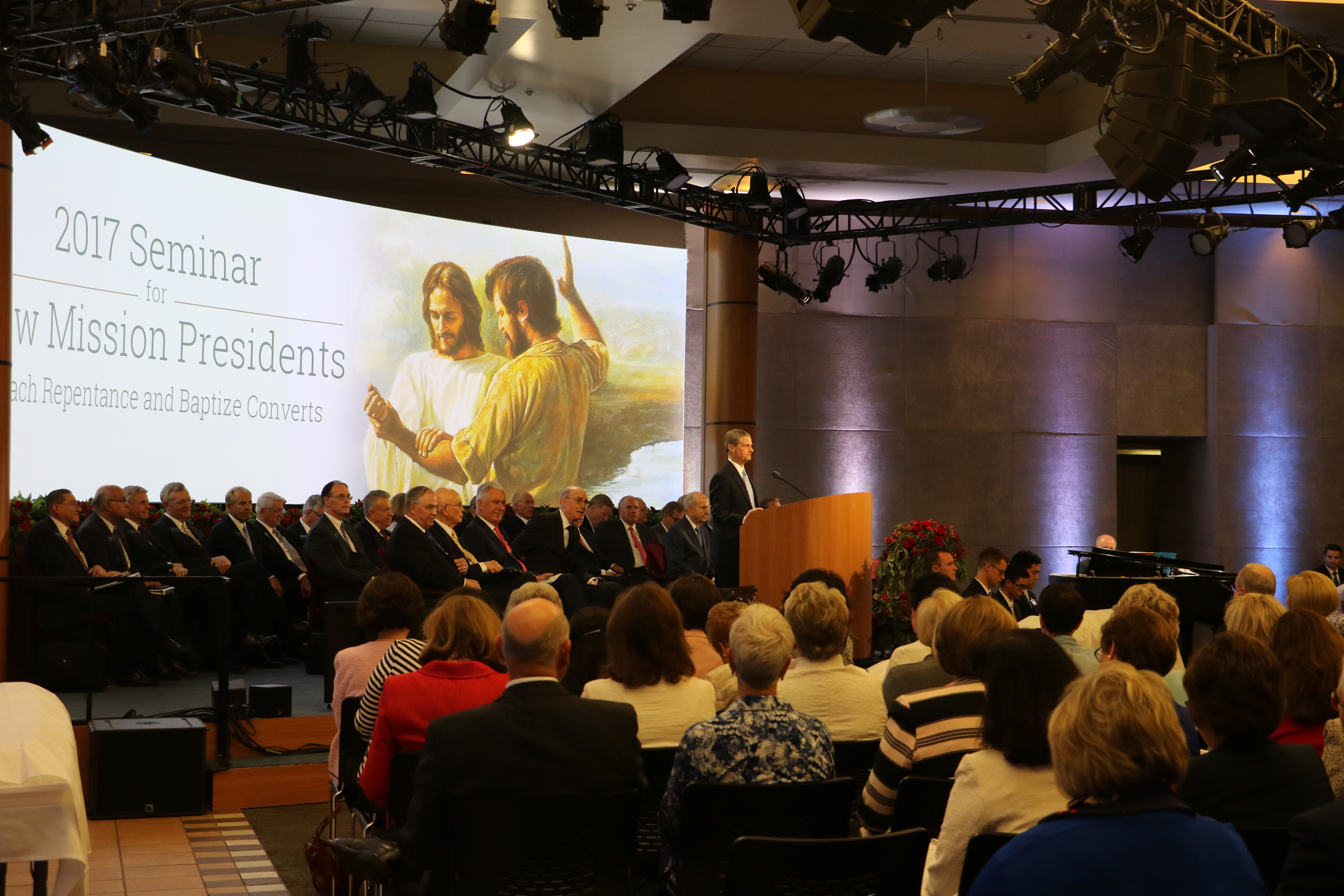 One hundred twenty seven mission presidents and their wives gather in the Provo Missionary Training Center to hear counsel and instruction from Church leaders during the 2017 Seminar for New Mission Presidents on Sunday, June 25.